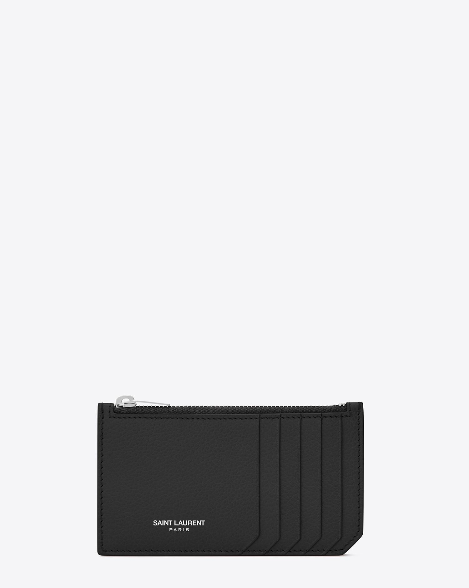 d20ea15ee771 Lyst - Saint Laurent Fragments Zipped Card Case In Grained Leather ...