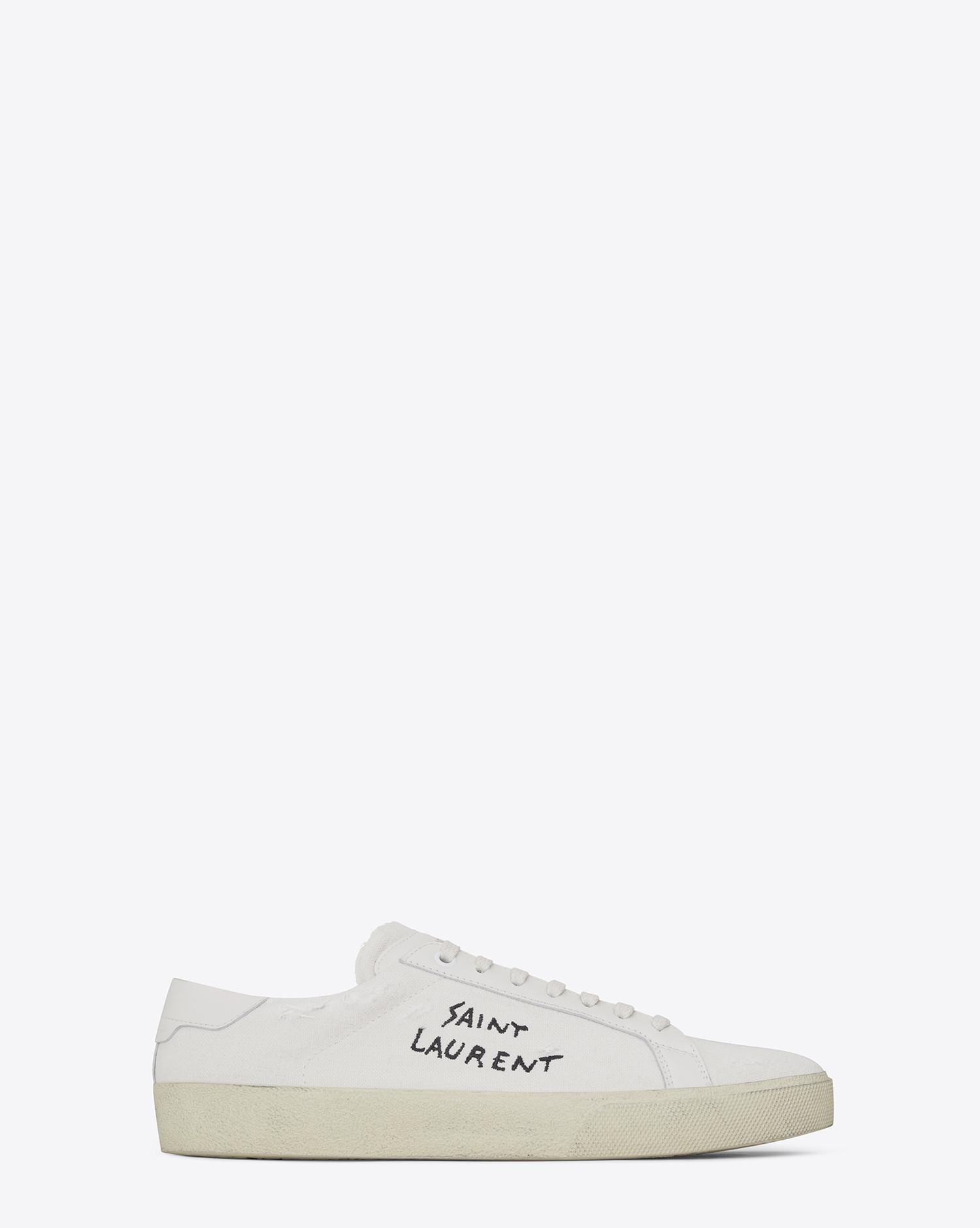 Sl/06 Court Classic Logo-embroidered Leather Sneakers Saint Laurent rcTYQV54e