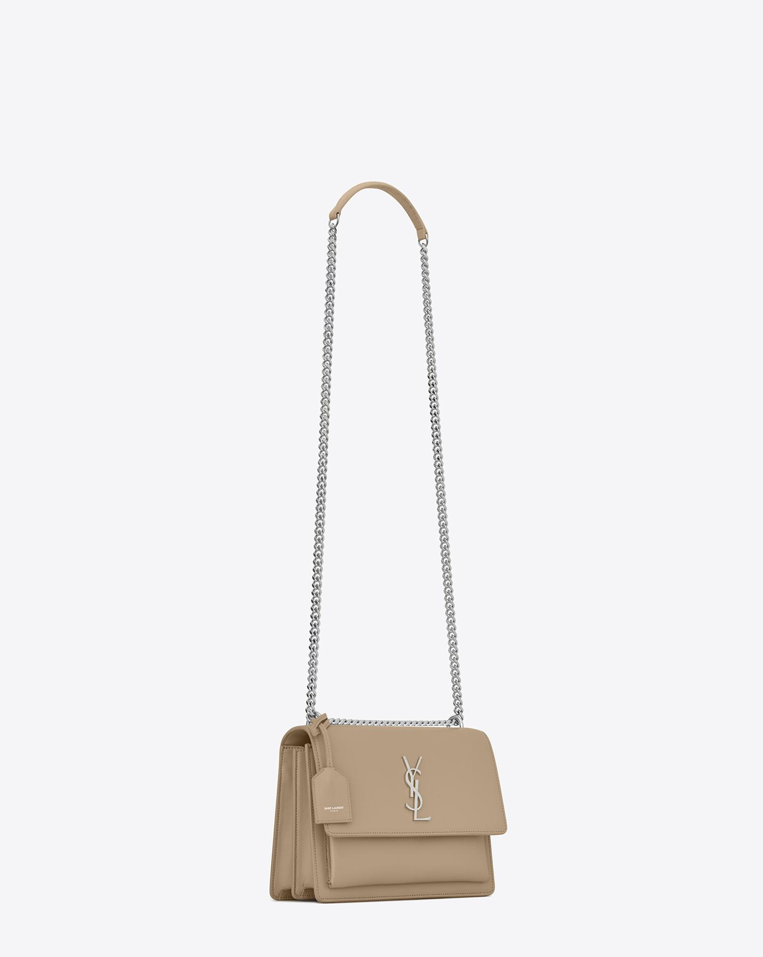 Lyst - Saint Laurent Sunset Medium In Smooth Leather in Natural a496b4b7fece9