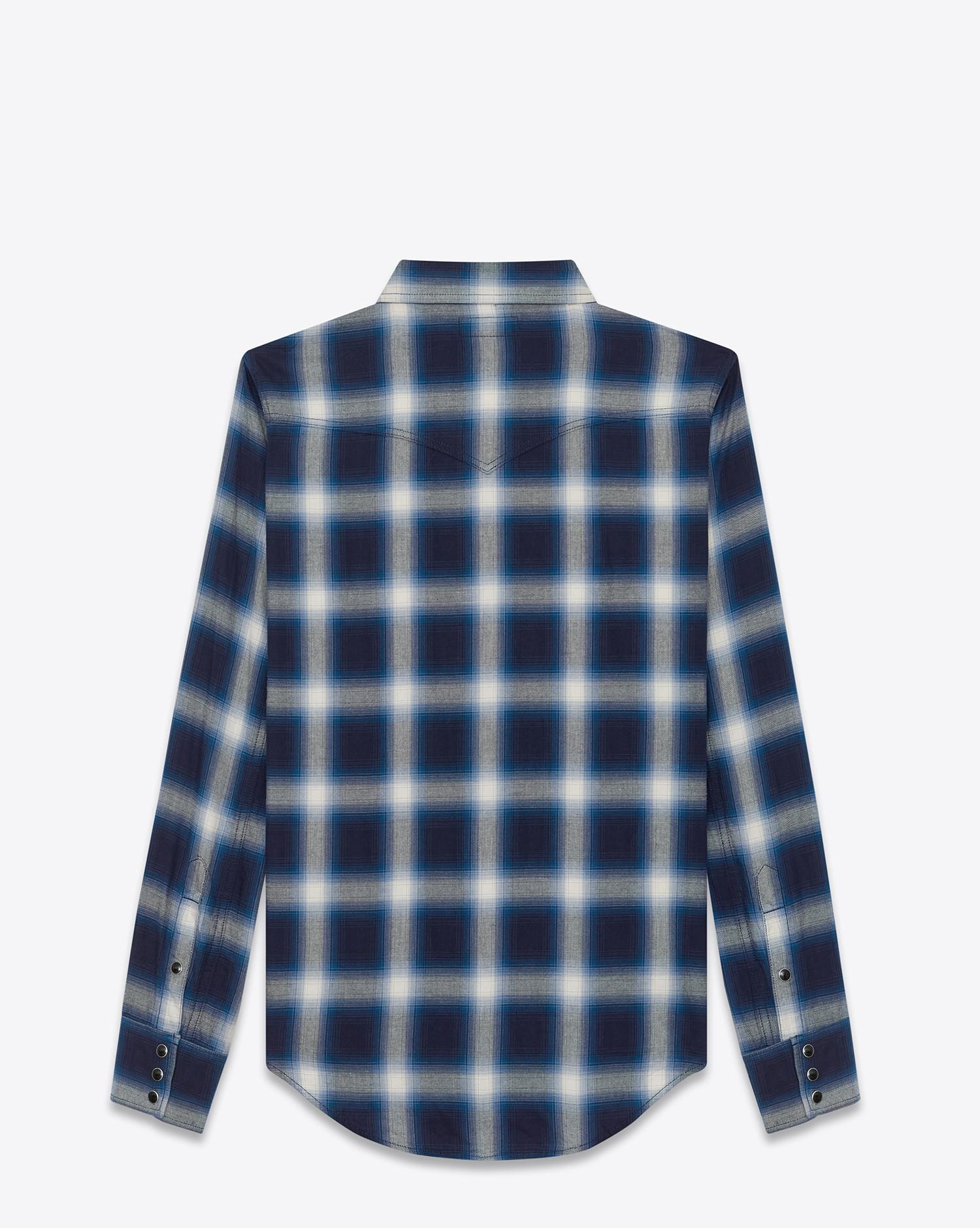 lyst saint laurent classic western shirt in blue and ivory plaid cotton in blue for men. Black Bedroom Furniture Sets. Home Design Ideas