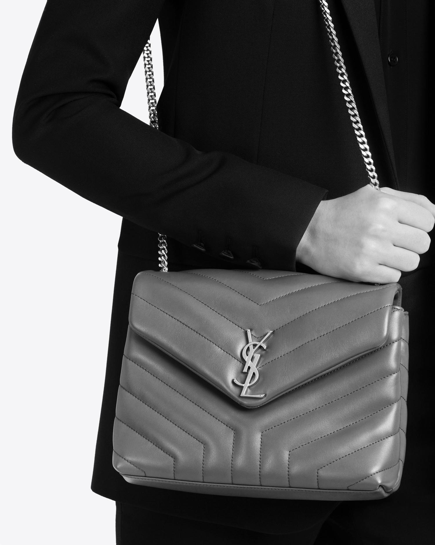 Lyst - Saint Laurent Small Loulou Chain Bag In Grey