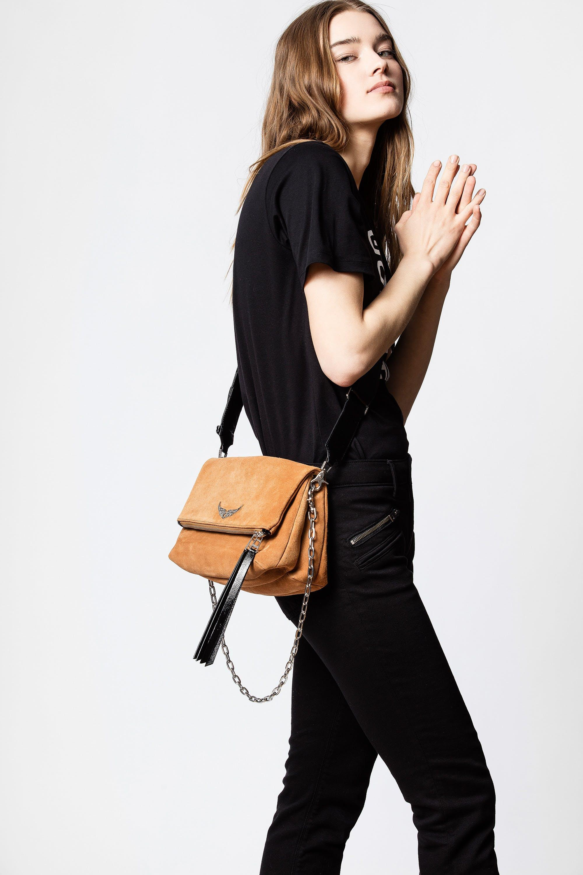Zadig Voltaire Rocky Suede Patent Bag In Brown Lyst