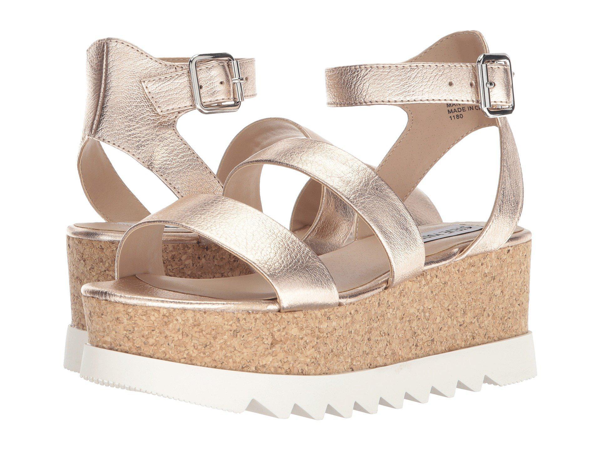 8aa3c23fcd7 Steve Madden. Kirsten Cork Platform Wedge Sandal (black Leather) Women s  Shoes