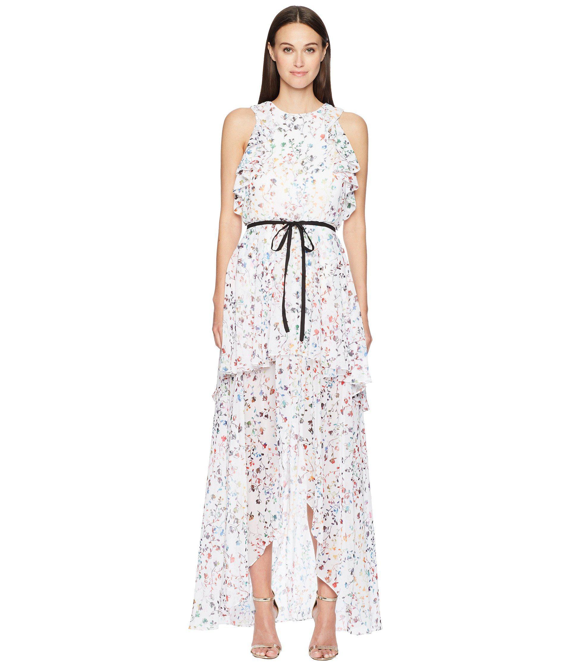 Lyst - ML Monique Lhuillier Sleeveless Tie Waist Garden High-low ... 361a49e5f