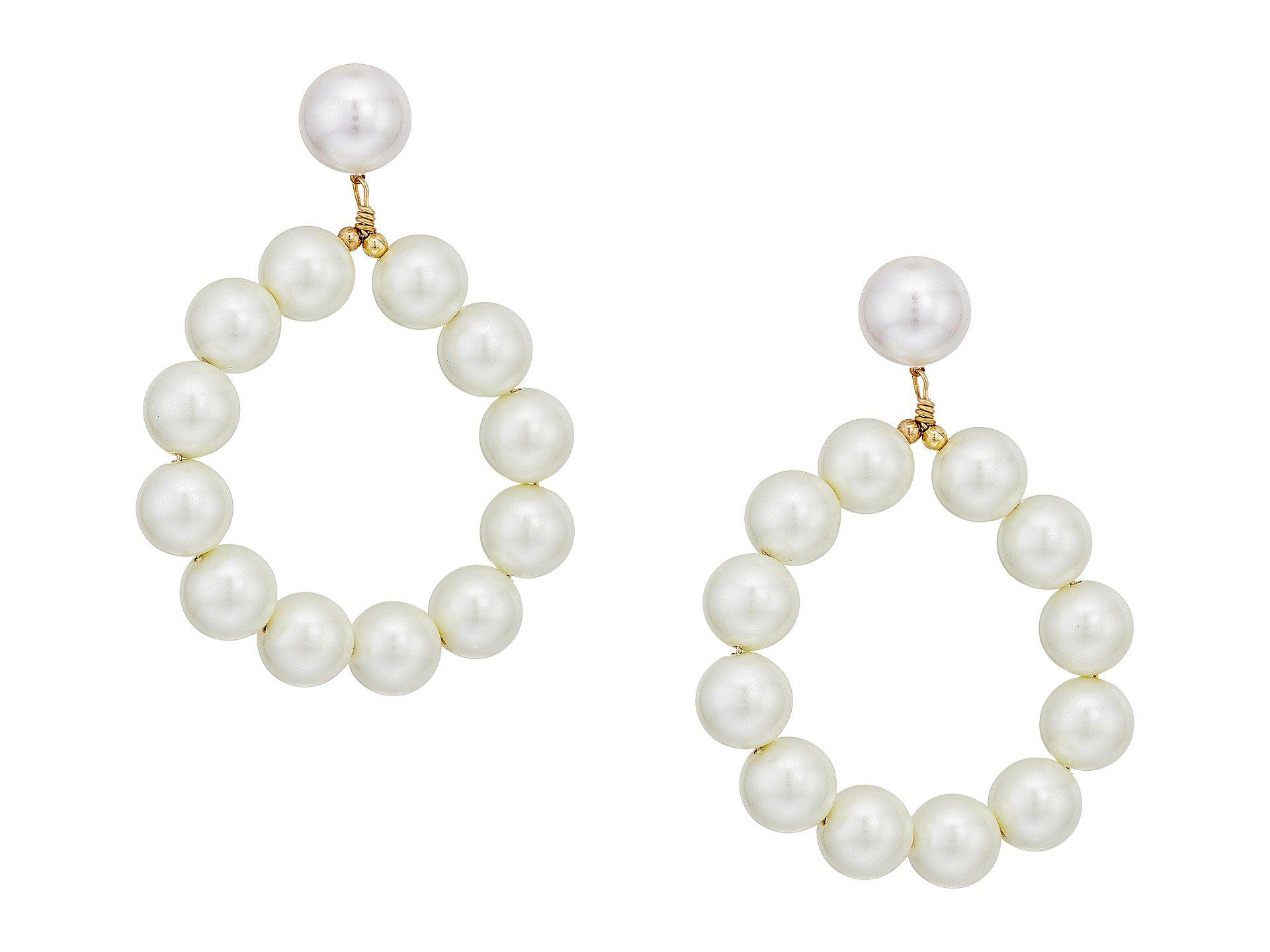 11ab92115 Kenneth Jay Lane Gold W/ White Pearl Balls Hoop Pierced Earrings in ...