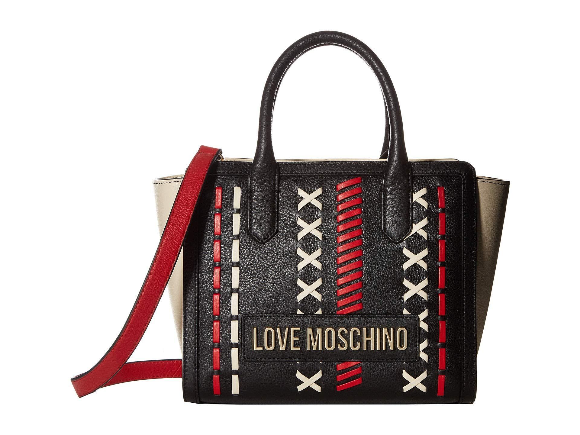 6f13507754e Love Moschino - Leather Color Block Handbag (black/red/ivory) Handbags -.  View fullscreen