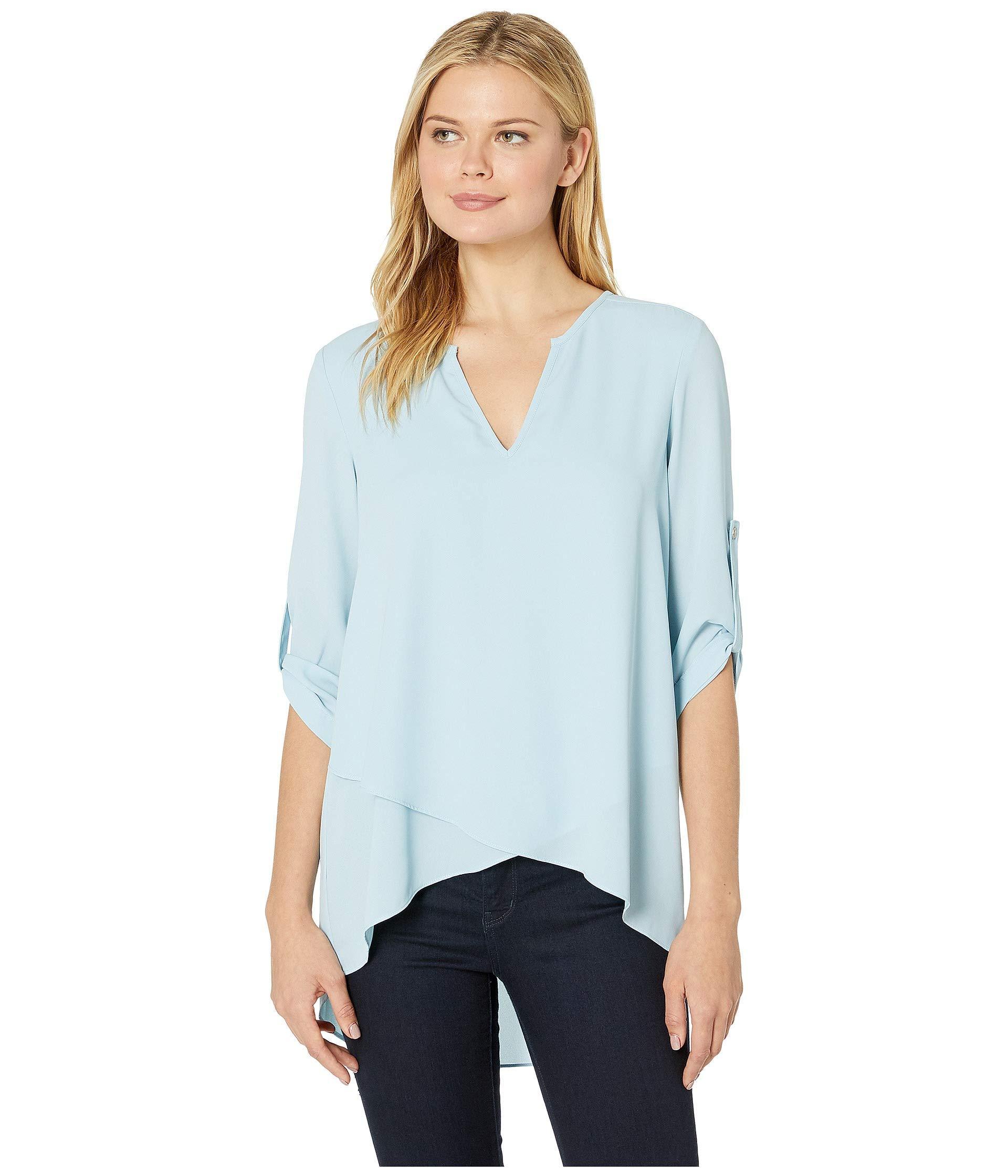 3c19ad927cc1 Lyst - Karen Kane Asymmetric Hem Wrap Top (blue) Women's Blouse in Blue
