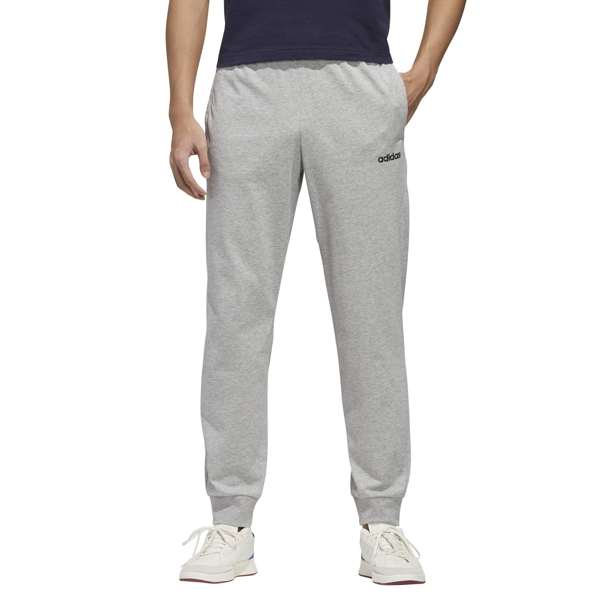 adidas Cotton Essential Single Jersey Jogger Pants in Gray for Men ...