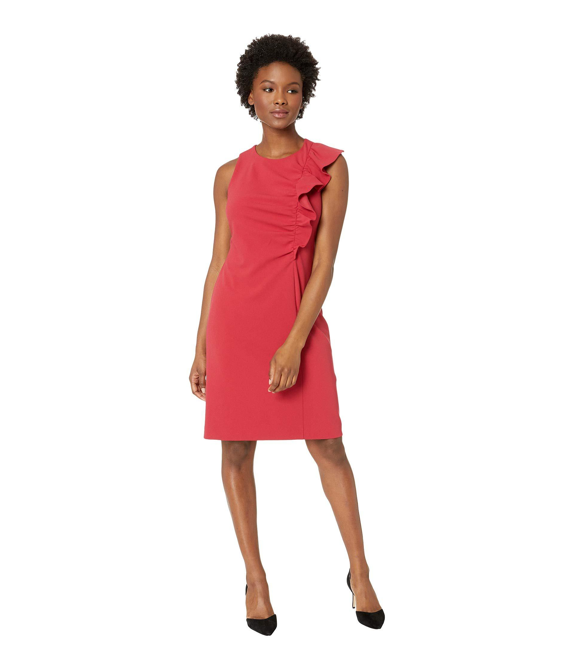 edcf58ad388 Lyst - Vince Camuto Sleeveless Asymmetrical Ruffle Ponte Dress ...