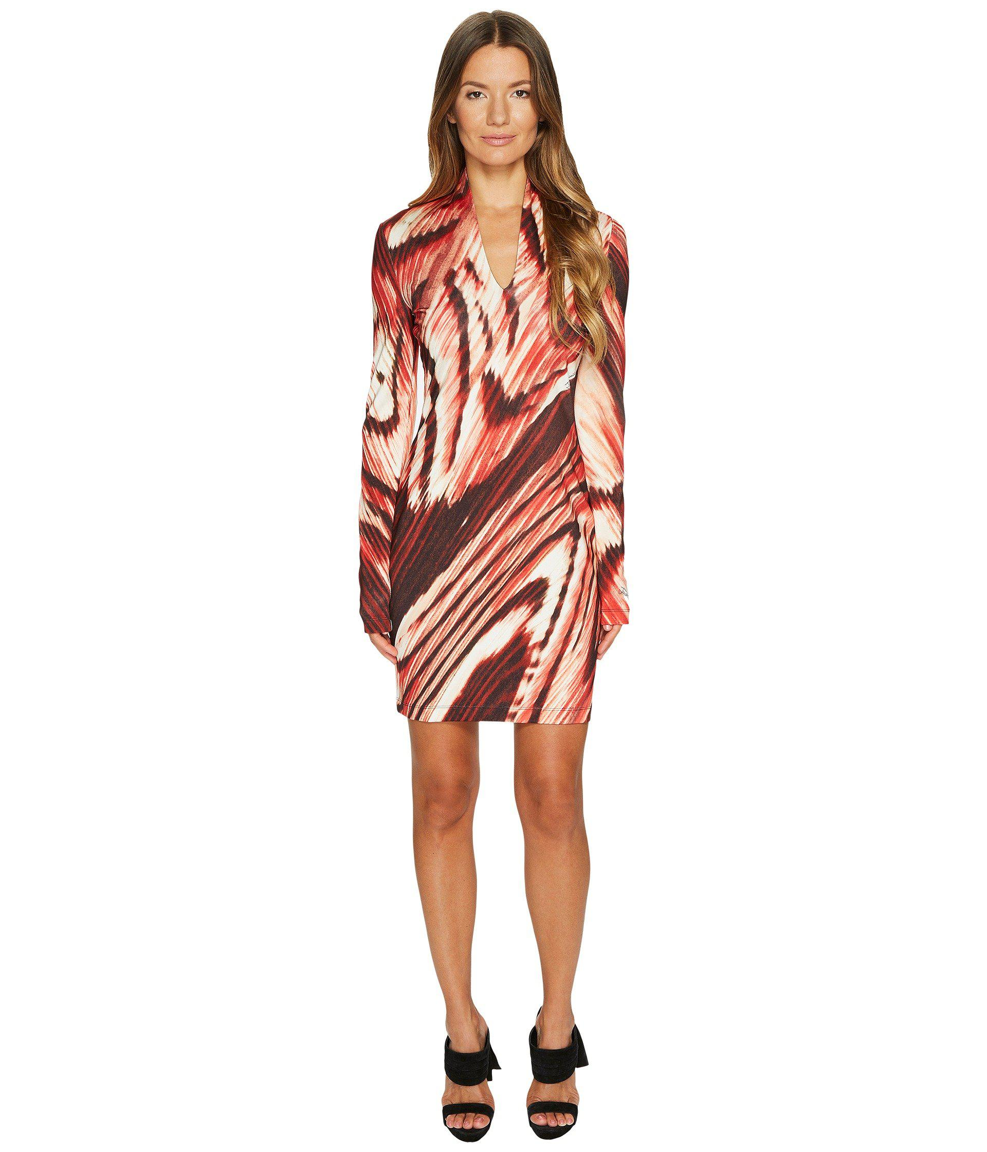 Just Cavalli Synthetic Distorted Dragon Fly Print Long