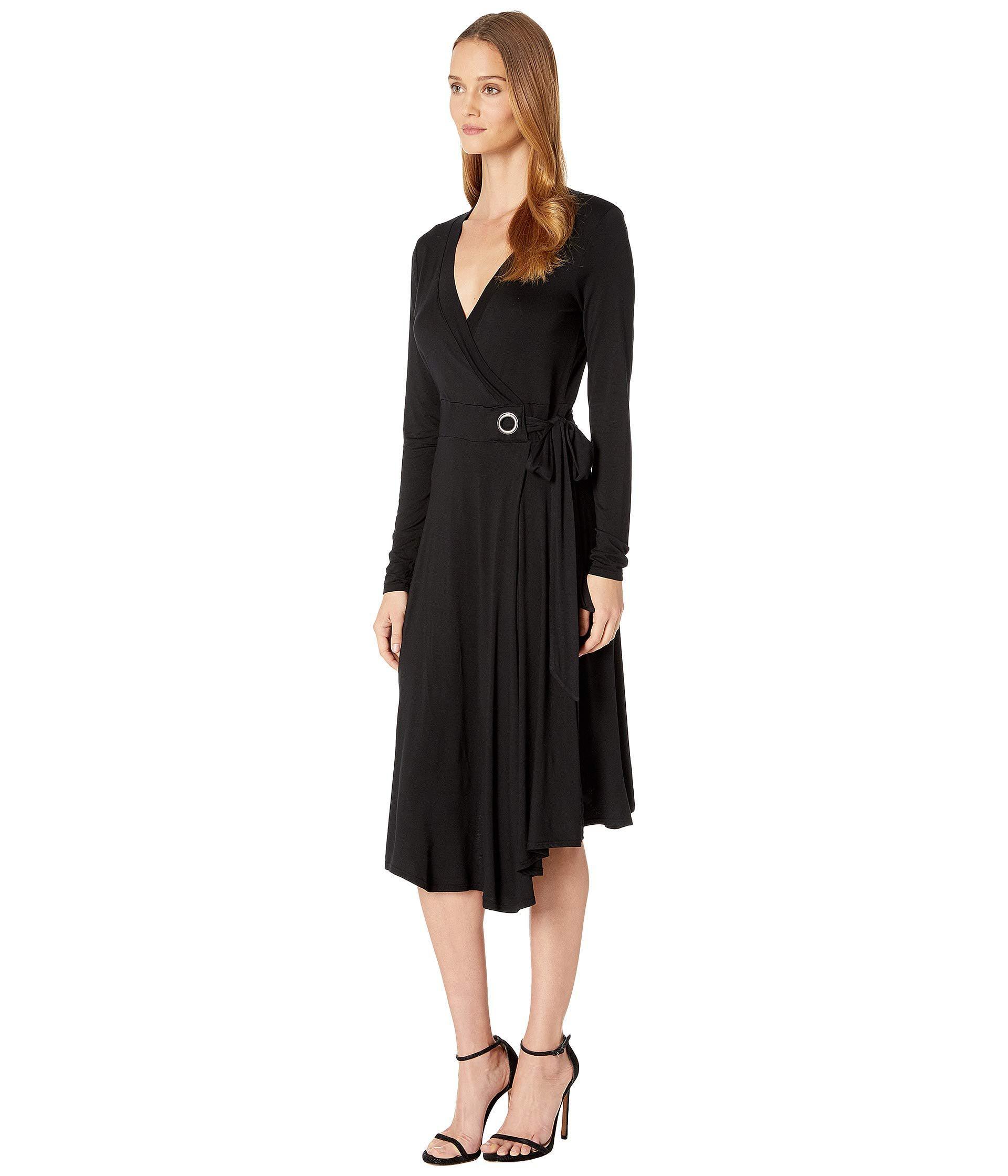 0894825e2a8 Lyst - Three Dots Refined Jersey Wrap Dress W  Grommet Detail (black)  Women s Dress in Black - Save 4%