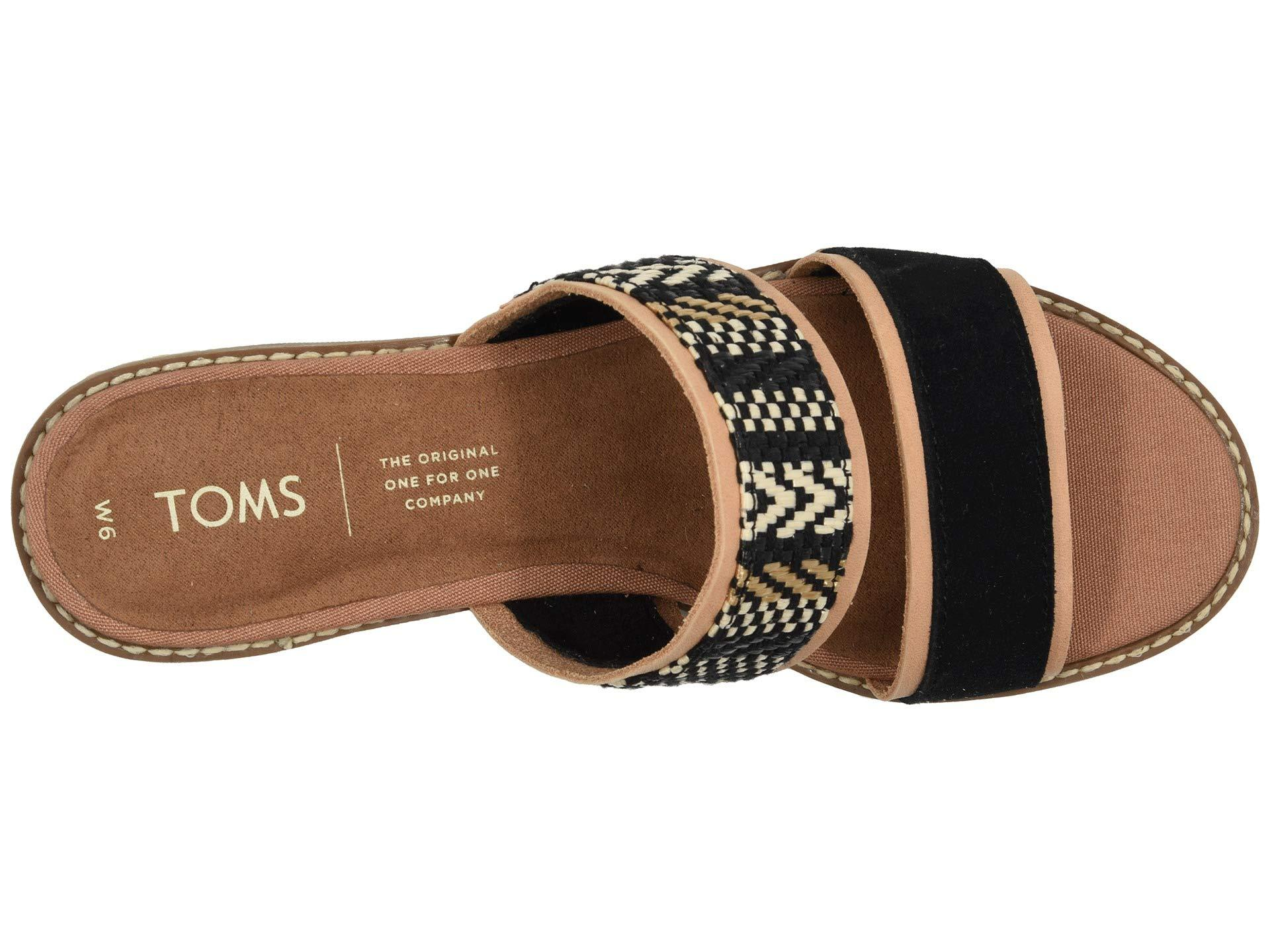 TOMS Black Suede With Geometric Woven
