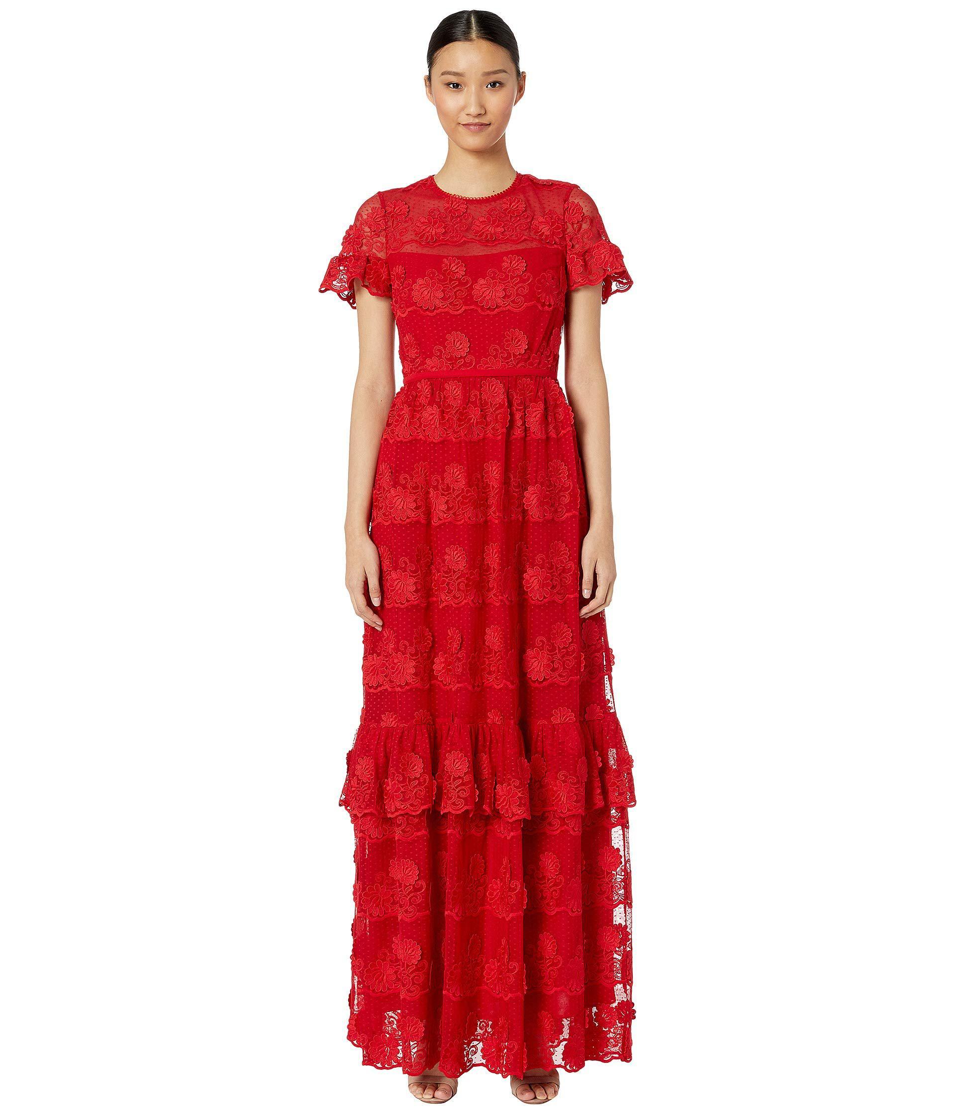 80ade8aa60e ML Monique Lhuillier Short Sleeve Lace Dress (flame) Women s Dress ...