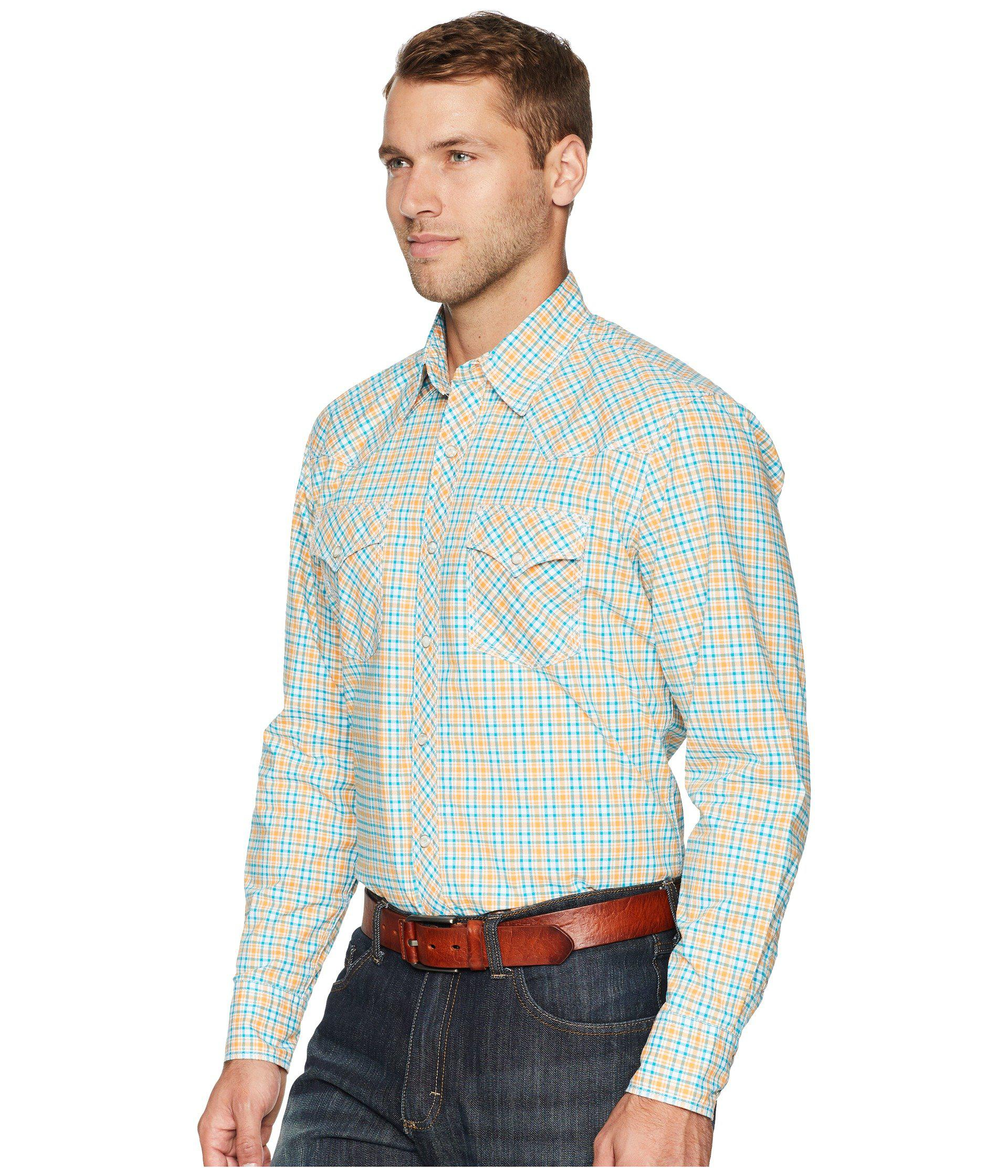 a724efe404eac Lyst - Wrangler 20x Long Sleeve Two-pocket Competition Ac Snap Plaid  (orange turquoise) Men s Long Sleeve Button Up for Men