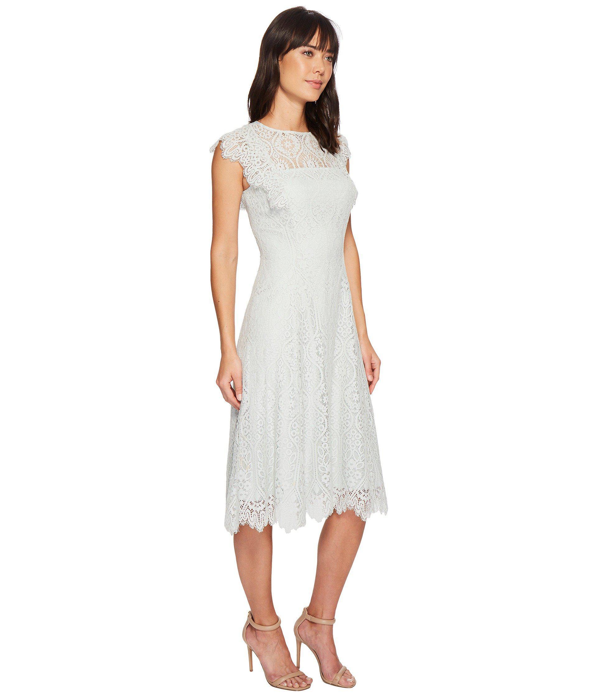 Tahari Lace Flutter Sleeve Midi Dress Blue Mist Women S