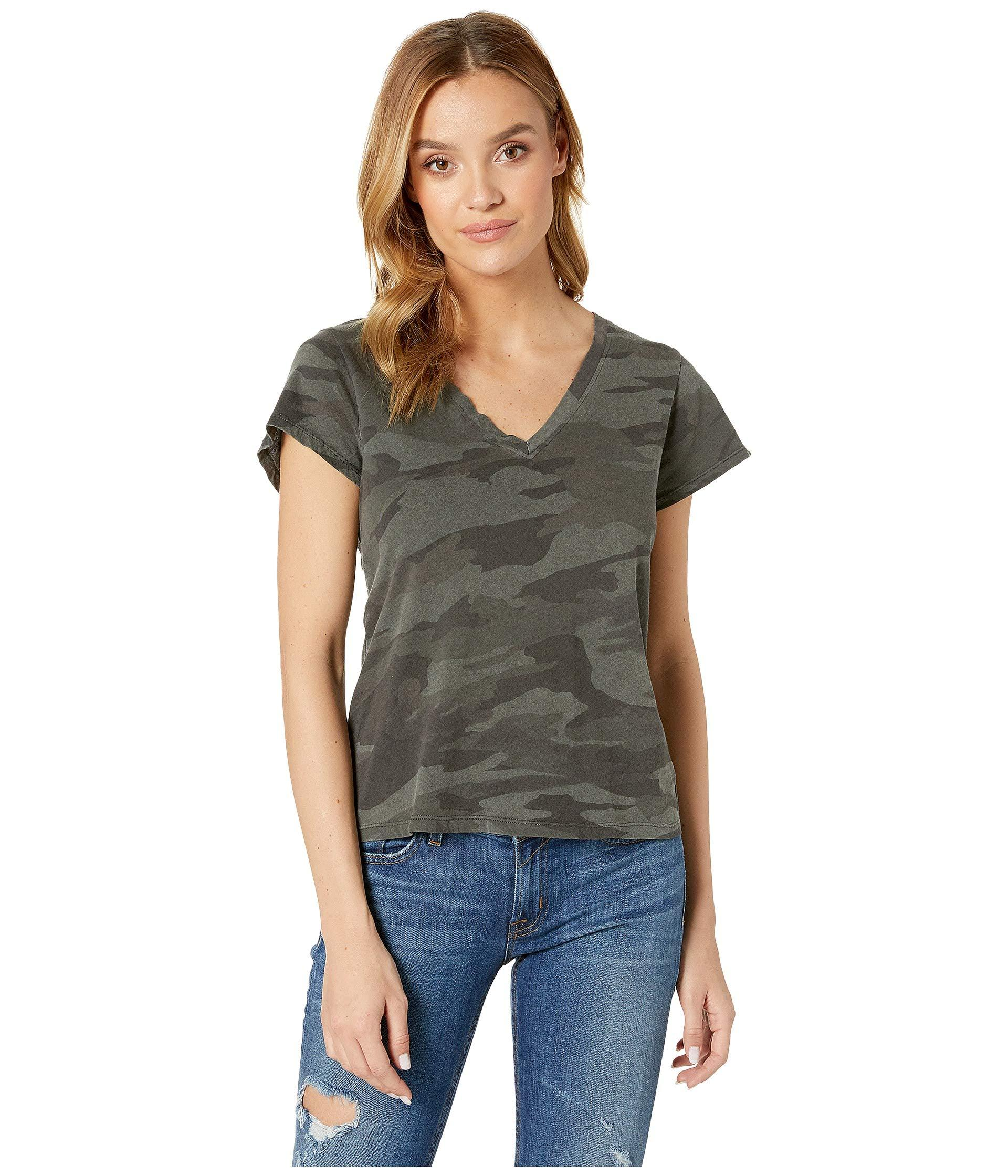 f25dc7bb4 Lyst - Splendid Katie Camo V-neck (vintage Ink) Women's T Shirt