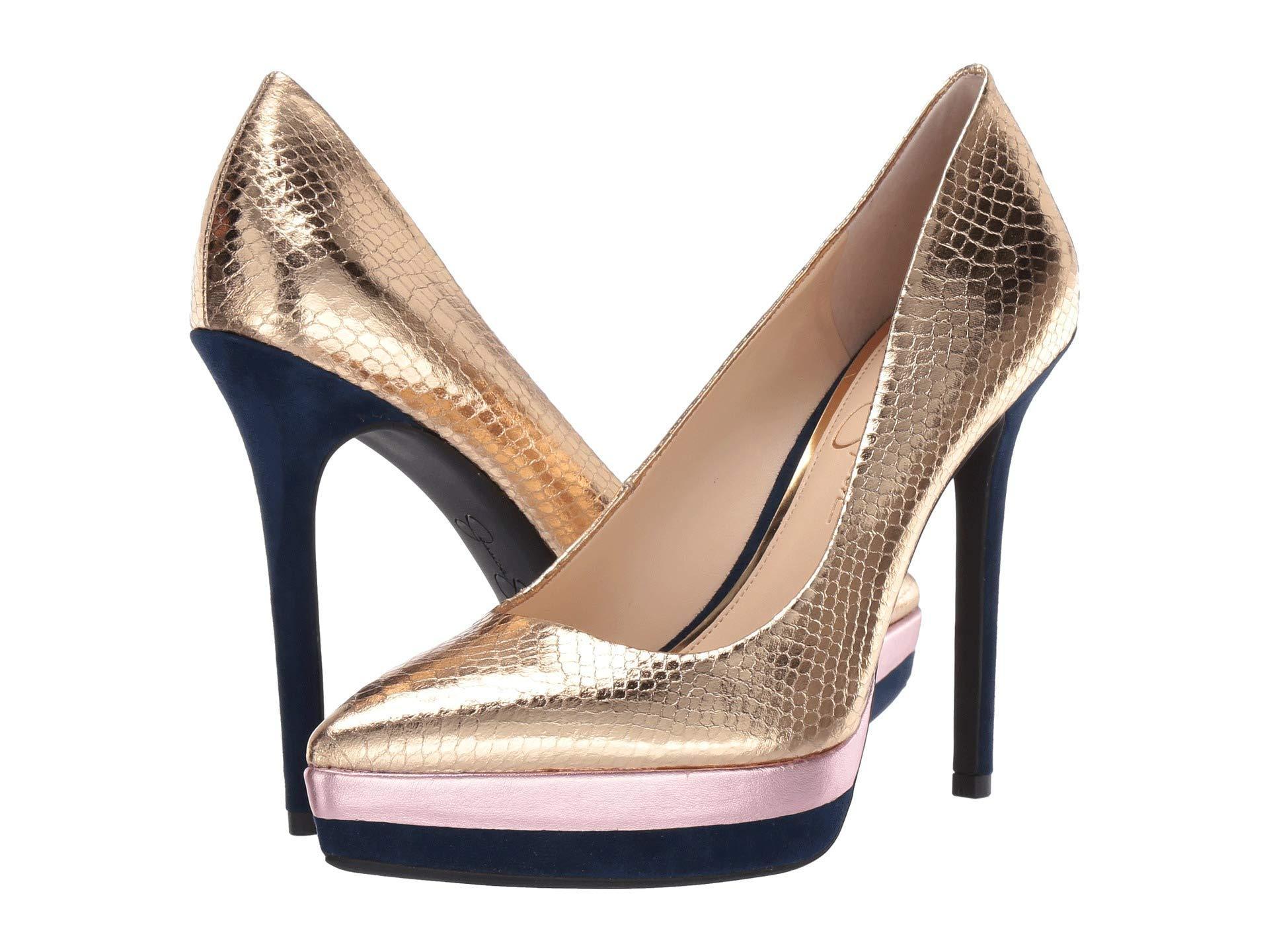 9ad57593c2 Jessica Simpson. Loyren (karat Gold Combo Metallic Python) Women's Shoes