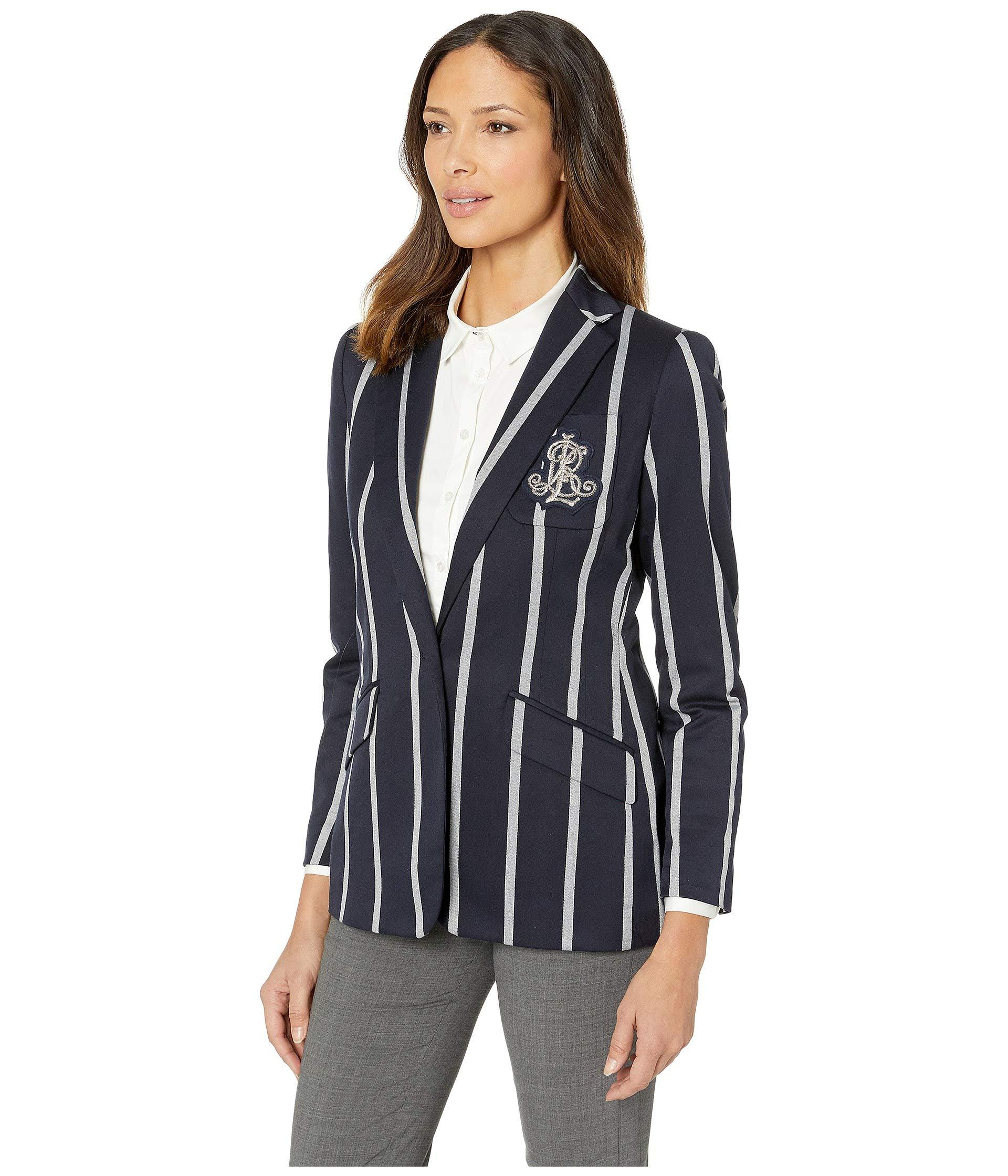 2a8ac6e2169 Lyst - Lauren by Ralph Lauren Cricket-stripe Crest Blazer (lauren  Navy mascarpone Cream) Women s Jacket in Blue