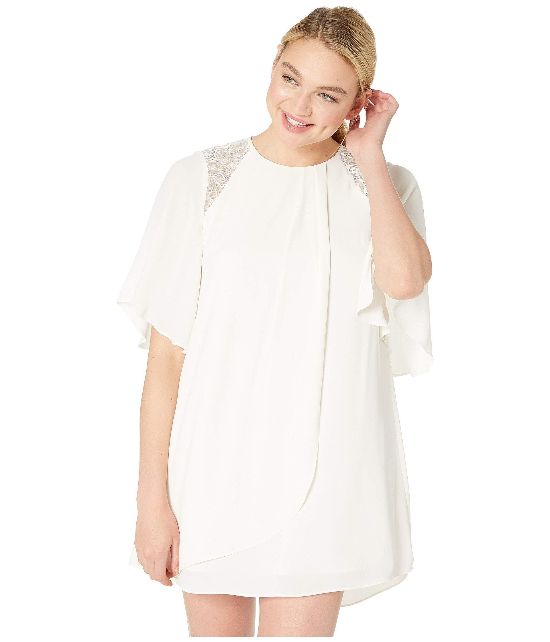 a0750afb7342 Halston Flowy Short Sleeve High Neck Dress With Lace (cream 2 ...
