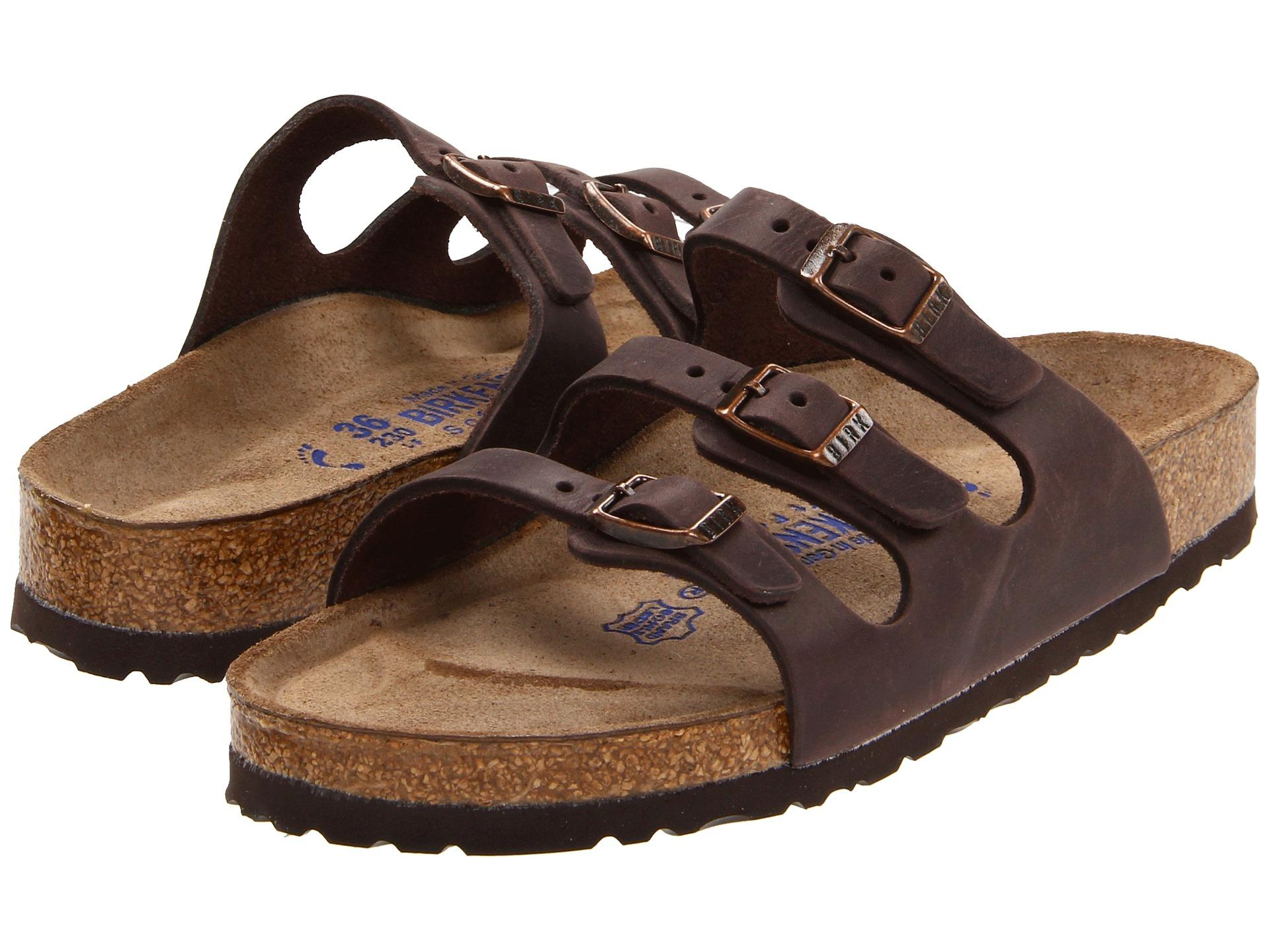 Birkenstock florida soft footbed leather in brown lyst for Birkenstock store nyc
