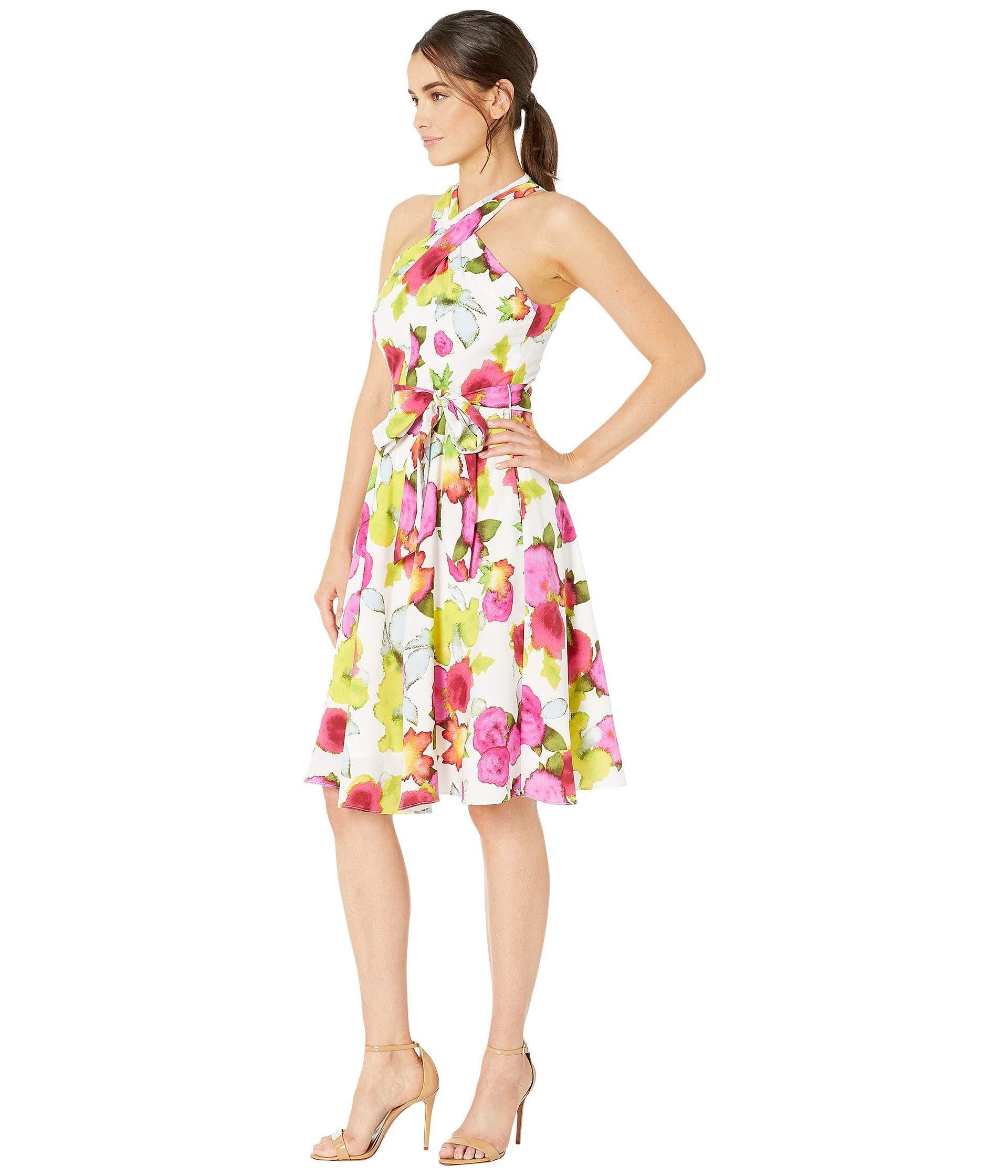 Tahari Synthetic Crisscross Halter Neck Georgette Dress