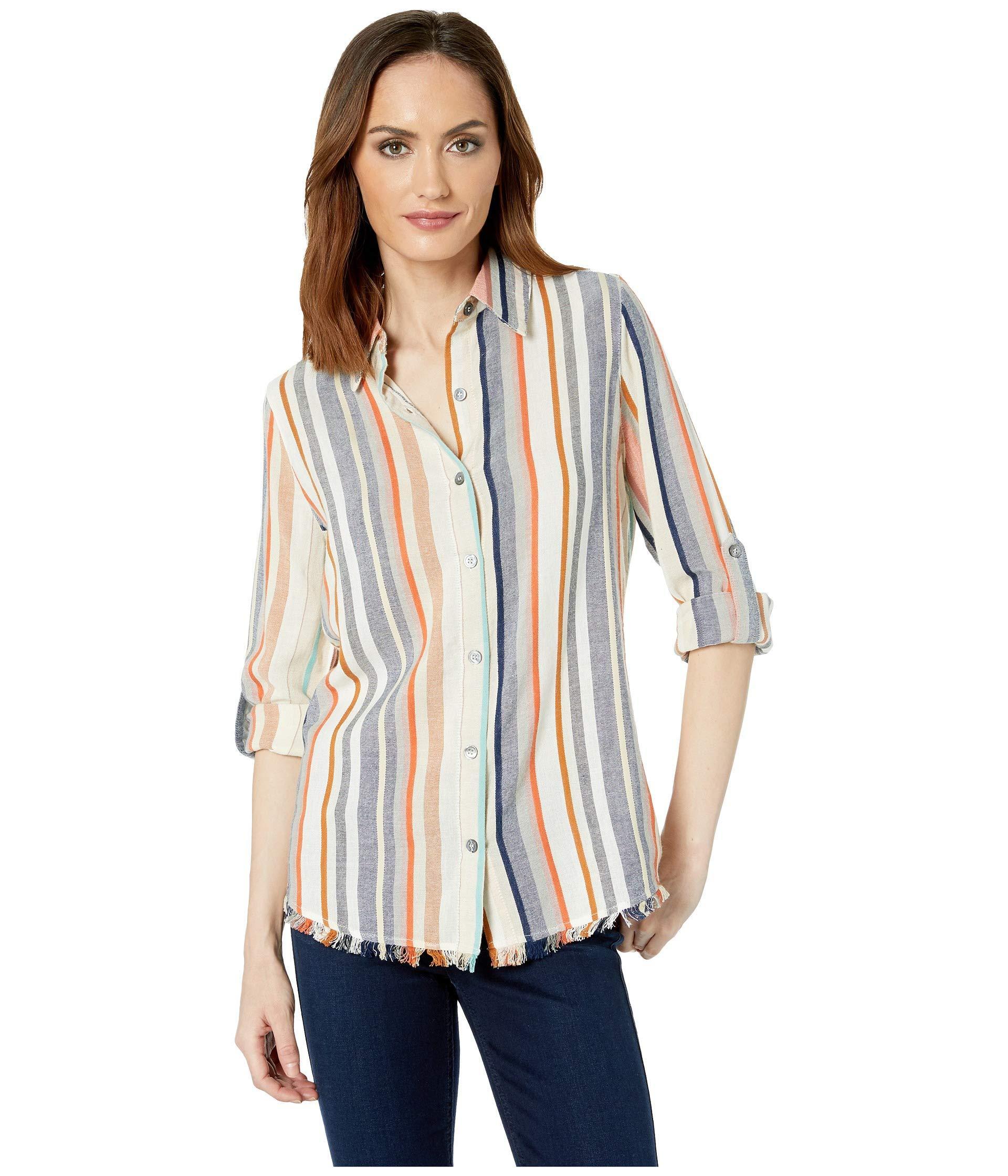 90b96329 Karen Kane Fringe Button Up Shirt (stripe) Women's Clothing - Lyst