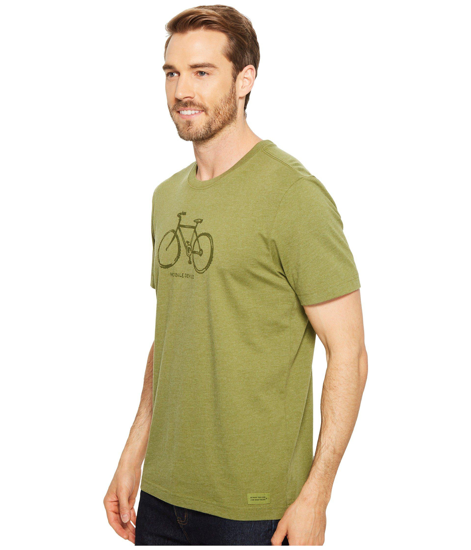 Life Is Good  Mobile Device Bike Crusher Tee (heather Tree Green) T Shirt  for men
