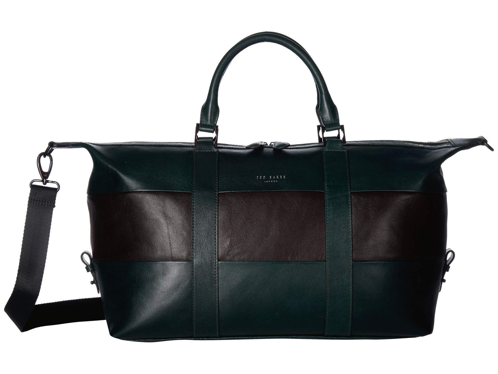 8abea751e05 Ted Baker - Elton Striped Leather Holdall (dark Green) Duffel Bags for Men  -. View fullscreen