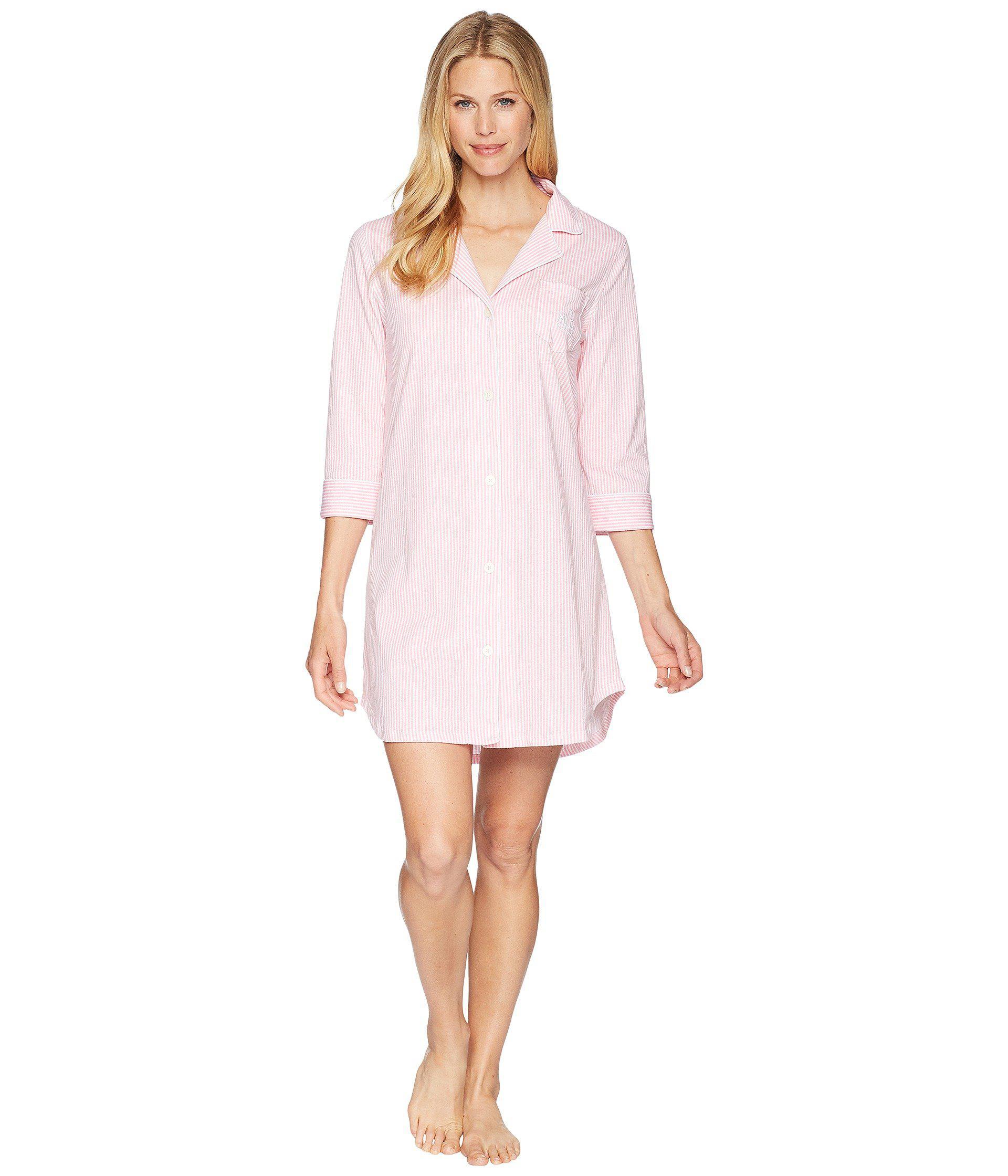 94081e4715ef7 Lauren by Ralph Lauren. Pink Essentials Bingham Knits Sleep Shirt (navy  Polka Dot) Women s Pajama