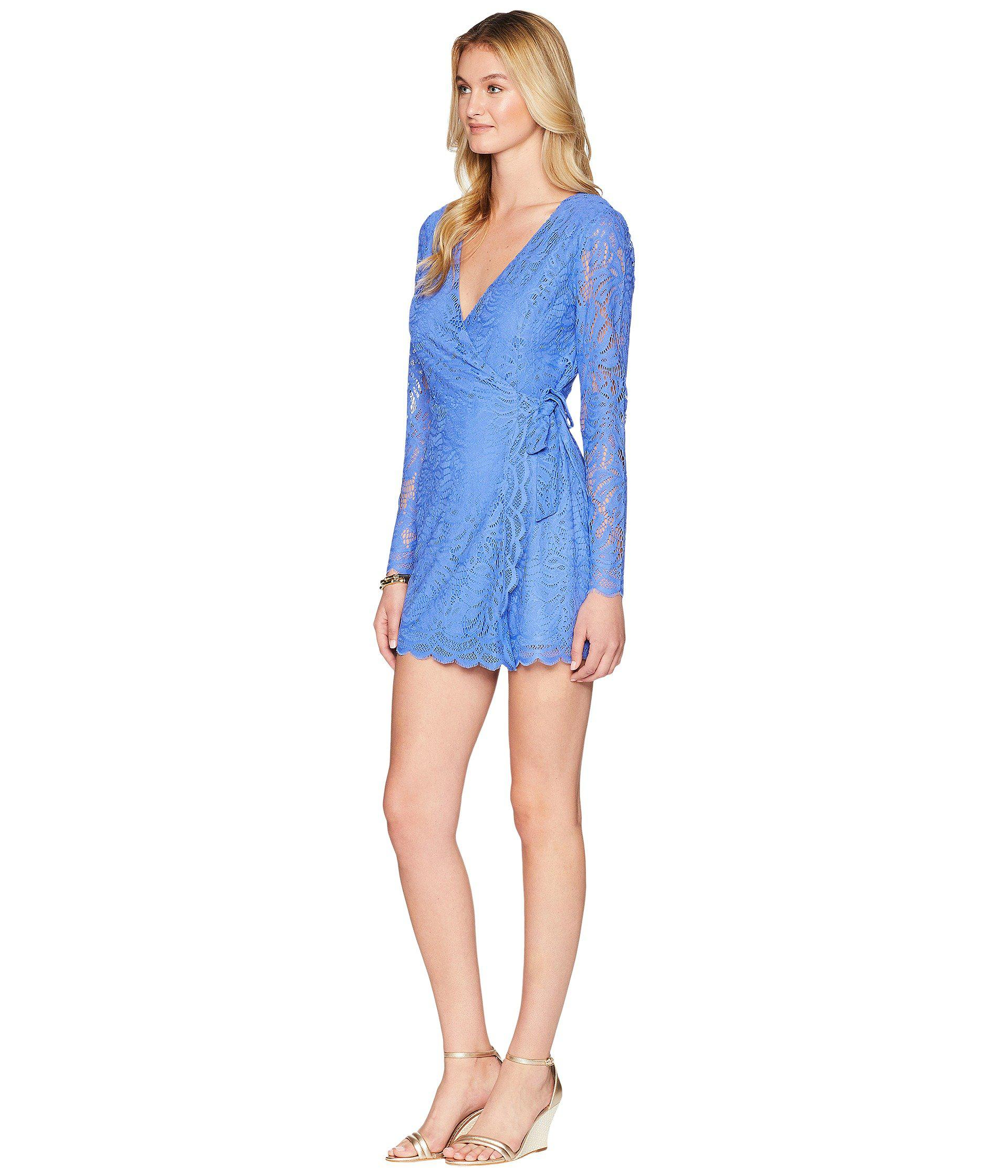 0844448ab2 Lyst - Lilly Pulitzer Tiki Wrap Romper (beckon Blue Paradise Found Lace) Women s  Jumpsuit   Rompers One Piece in Blue