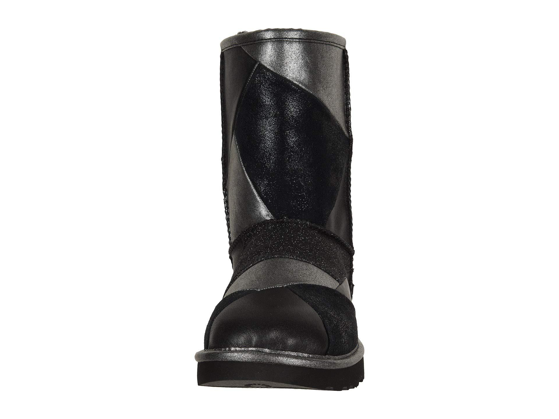 dd1a4a29f9a Black Classic Glitter Patchwork (gold) Women's Pull-on Boots