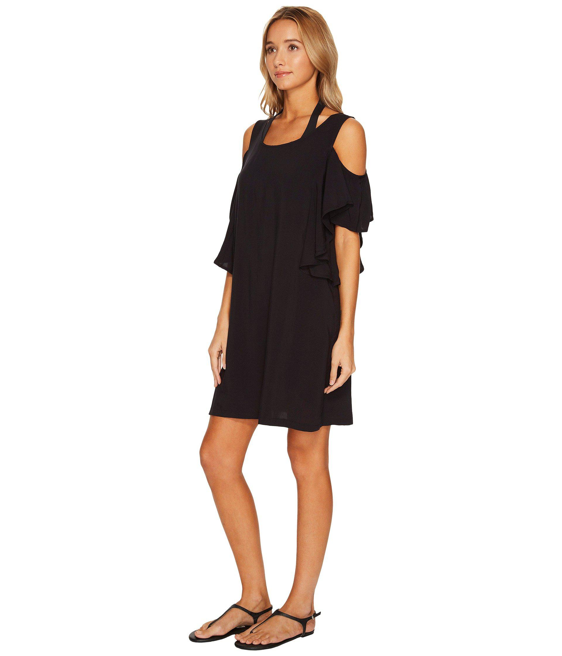 ae95e1502d Lyst - MICHAEL Michael Kors Geometric Glamour Solids Cold Shoulder Ruffle  Dress Cover-up (black) Women s Swimwear in Black