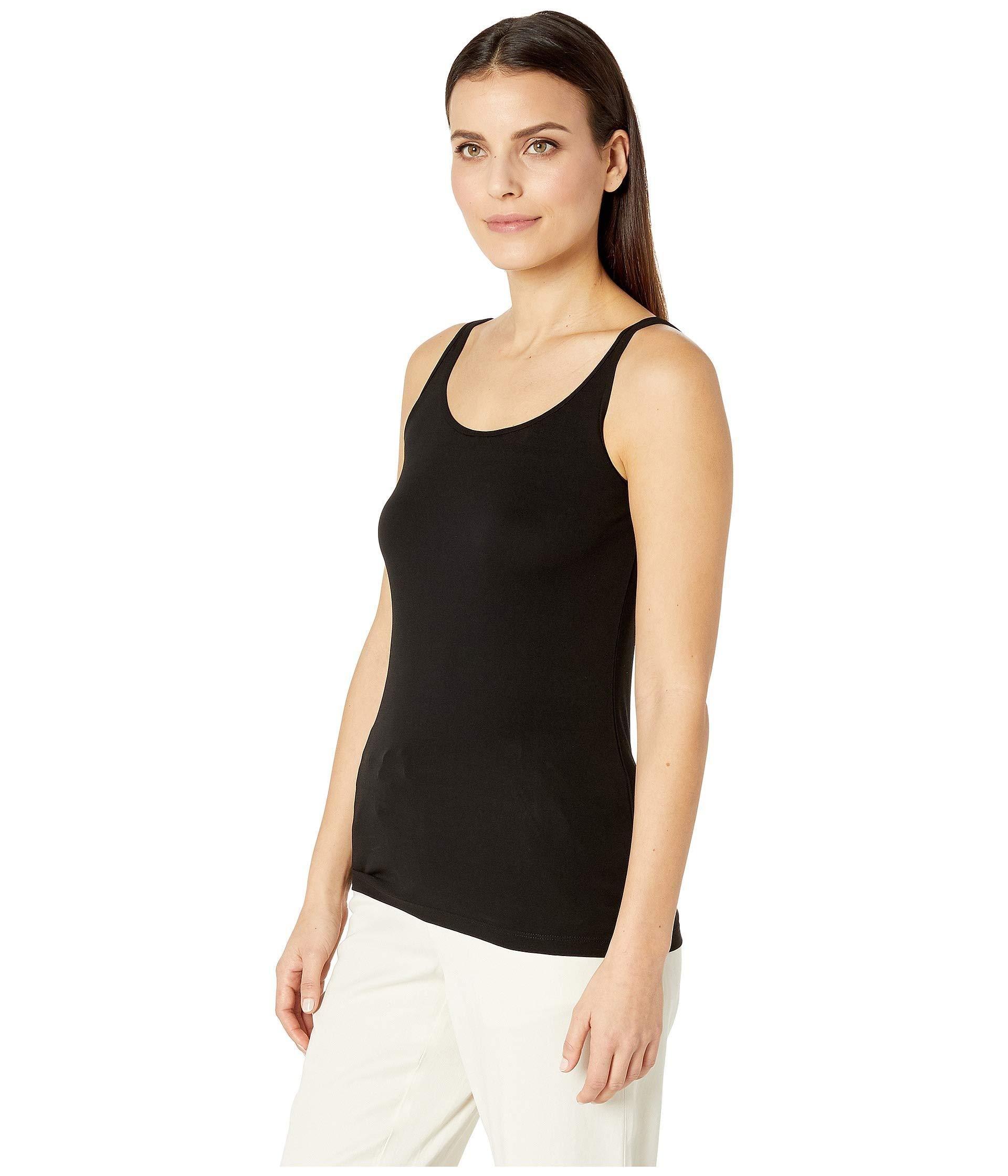 c48260e7cb Eileen Fisher Petite Stretch Silk Jersey Scoop Neck Long Slim Cami (soft  White) Women's Sleeveless in Black - Lyst