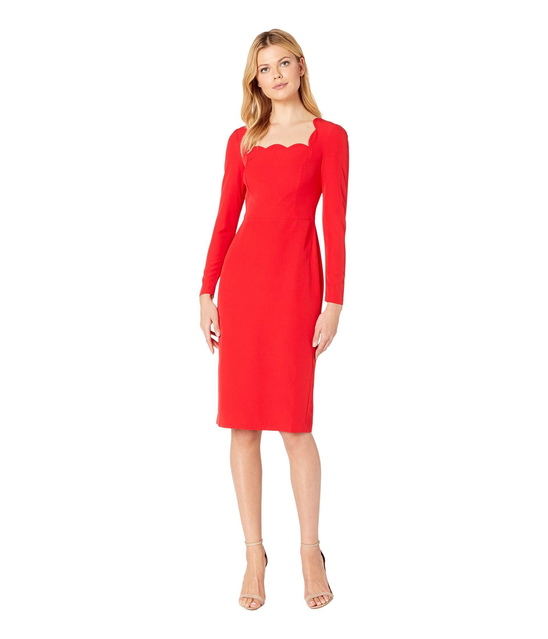 1005017a Maggy London. Red Dream Crepe Scalloped Neck Midi Dress With Sleeve ...