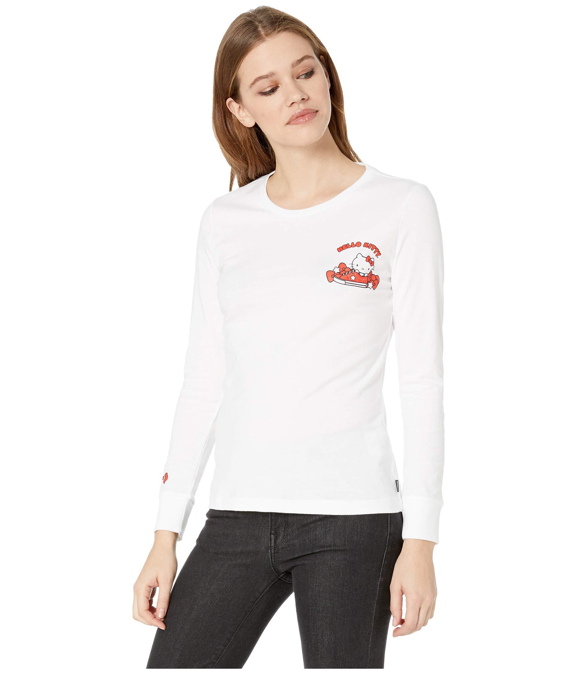 0d1eb3109d52f0 Lyst - Converse X Hello Kitty White Back Print Long Sleeve T-shirt in White  - Save 24%