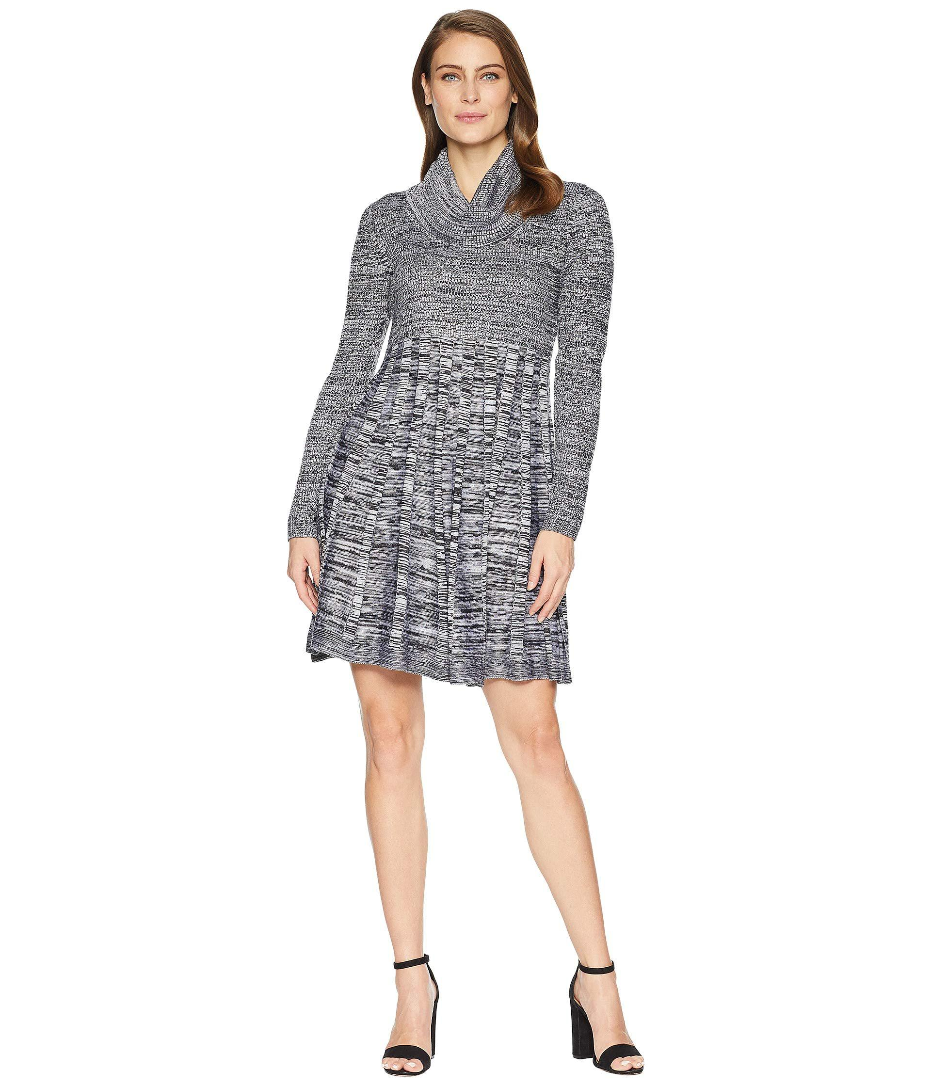 7534b0e054473 Lyst - Calvin Klein Marled Cowl Neck Fit Flare Sweater Dress ...