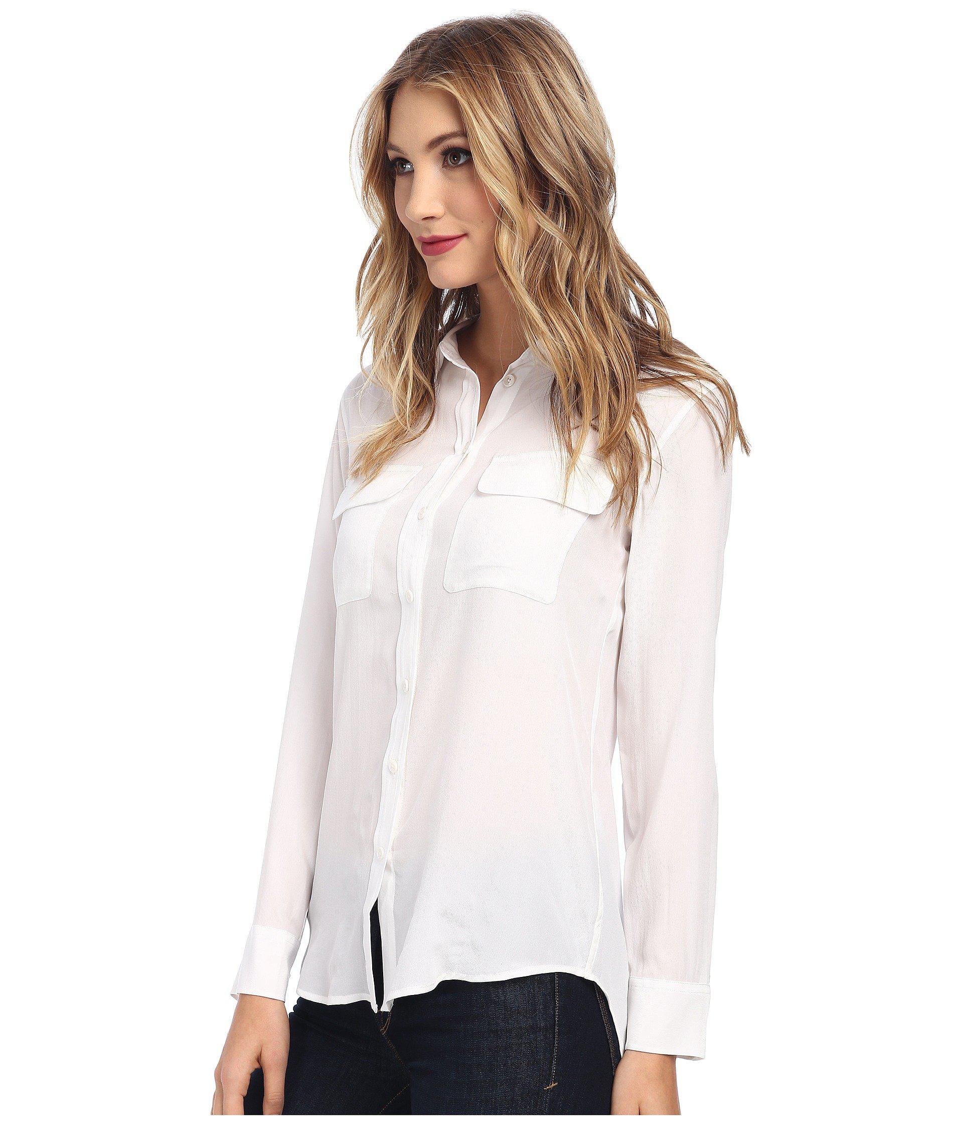 fbcab732443413 Lyst - Equipment Slim Signature Blouse (nature White) Women s Blouse in  White - Save 6.956521739130437%