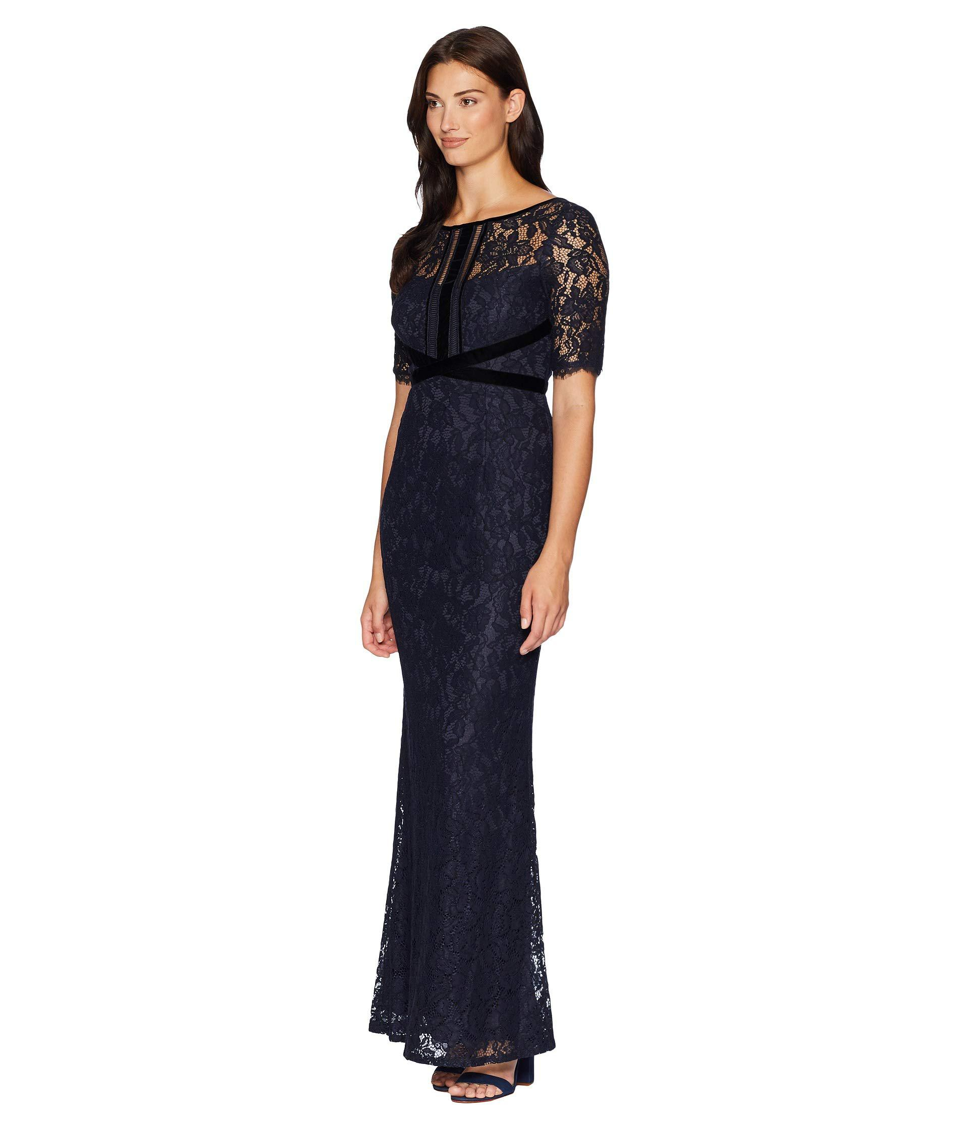 Lyst - Adrianna Papell Elbow Sleeve Lace Gown With Crisscross Bodice ...
