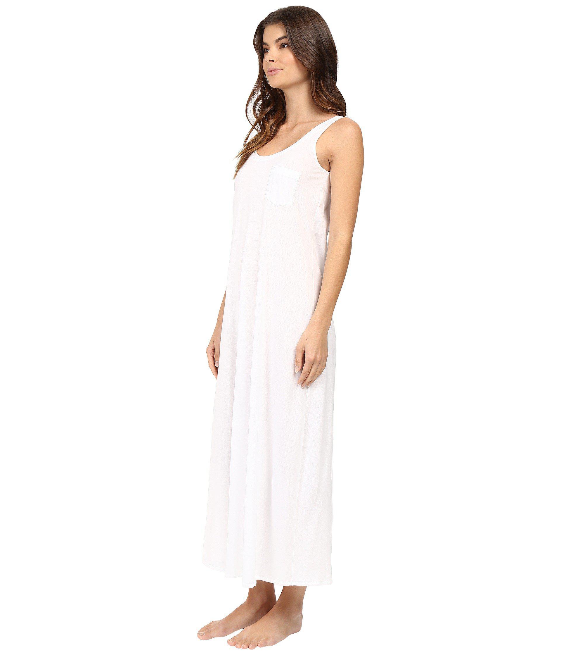 e3637fa49d Lyst - Hanro Cotton Deluxe Long Tank Nightgown (black) Women s Pajama in  White
