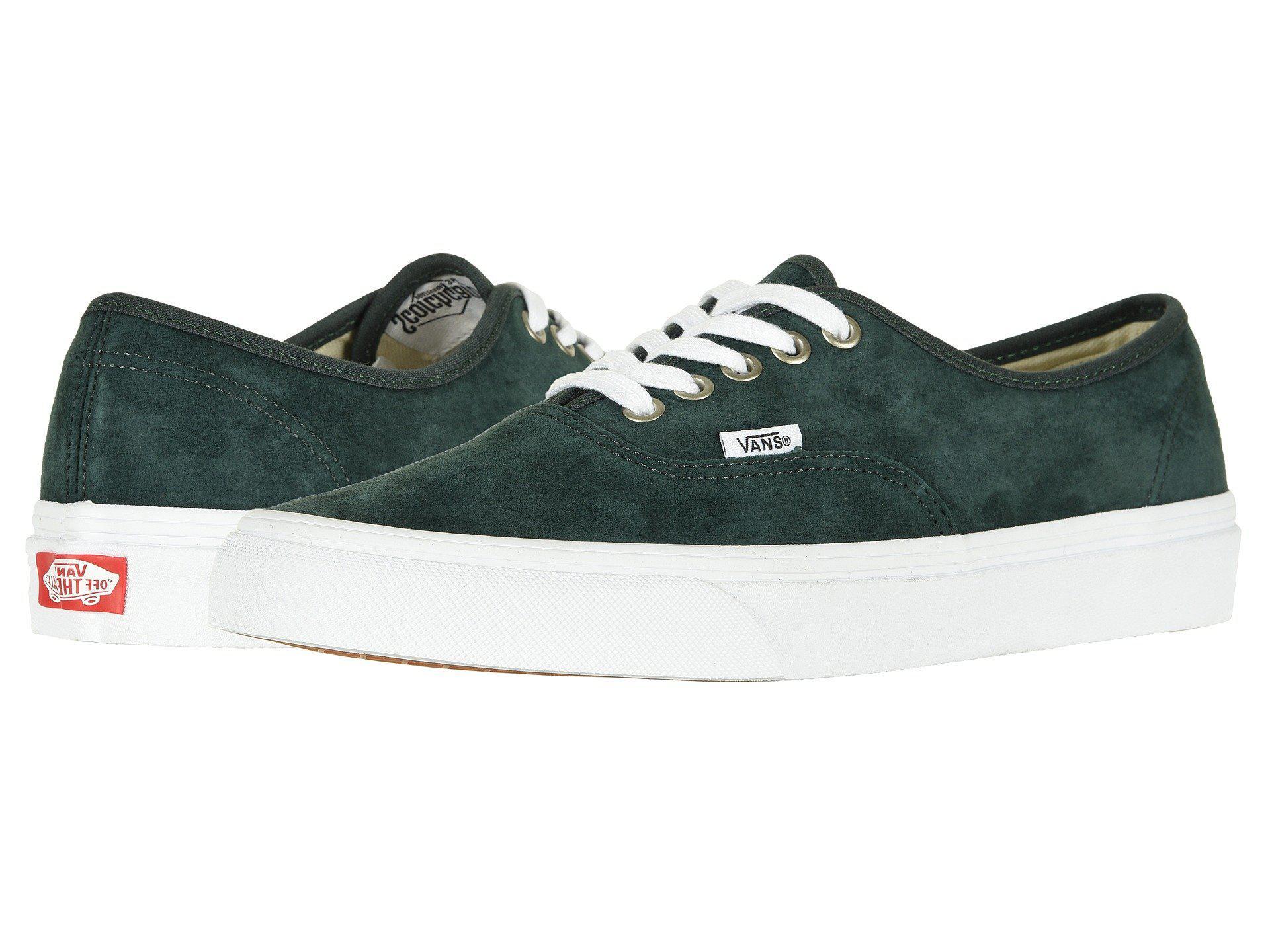 56914c57c63 Vans - Green Authentictm ((pig Suede) Darkest Spruce true White) Skate.  View fullscreen