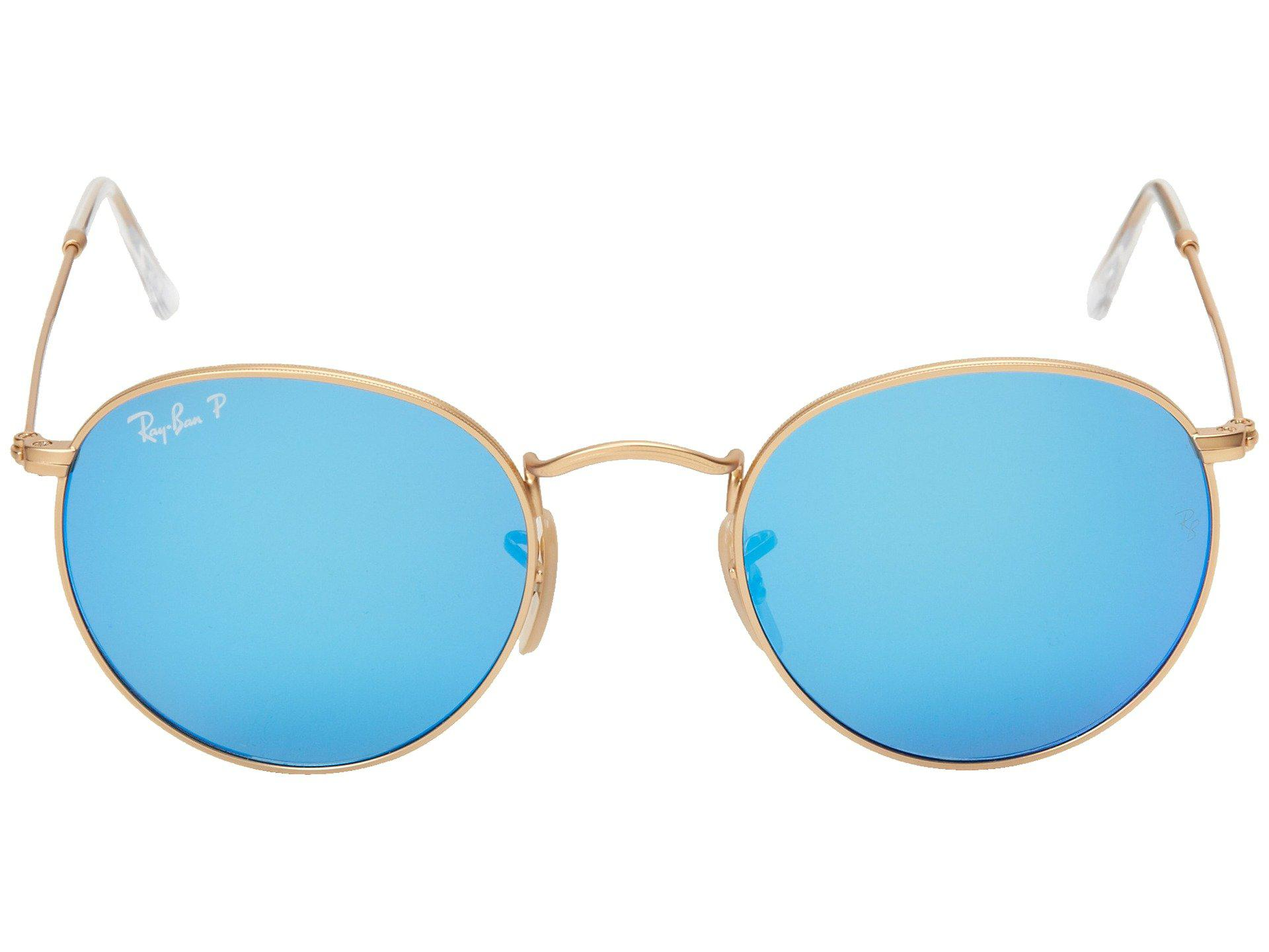 fd9a4448180 ... new zealand ray ban metallic rb3447 round metal polarized 50mm matte gold  blue mirror. view