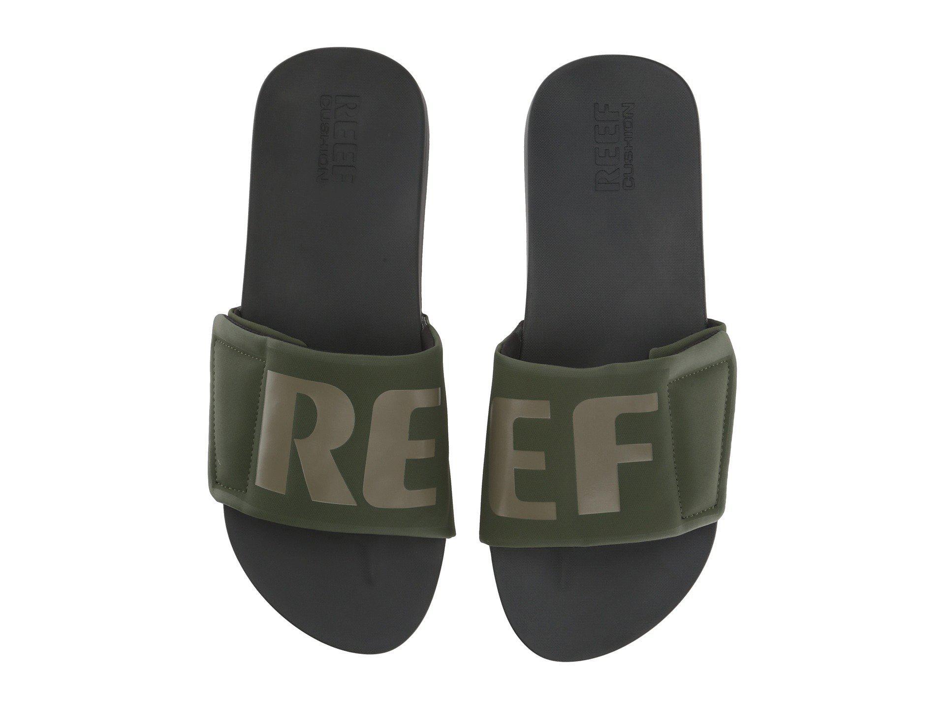 ee8a0136389 Reef - Gray Cushion Bounce Slide (black white logo) Men s Sandals for. View  fullscreen