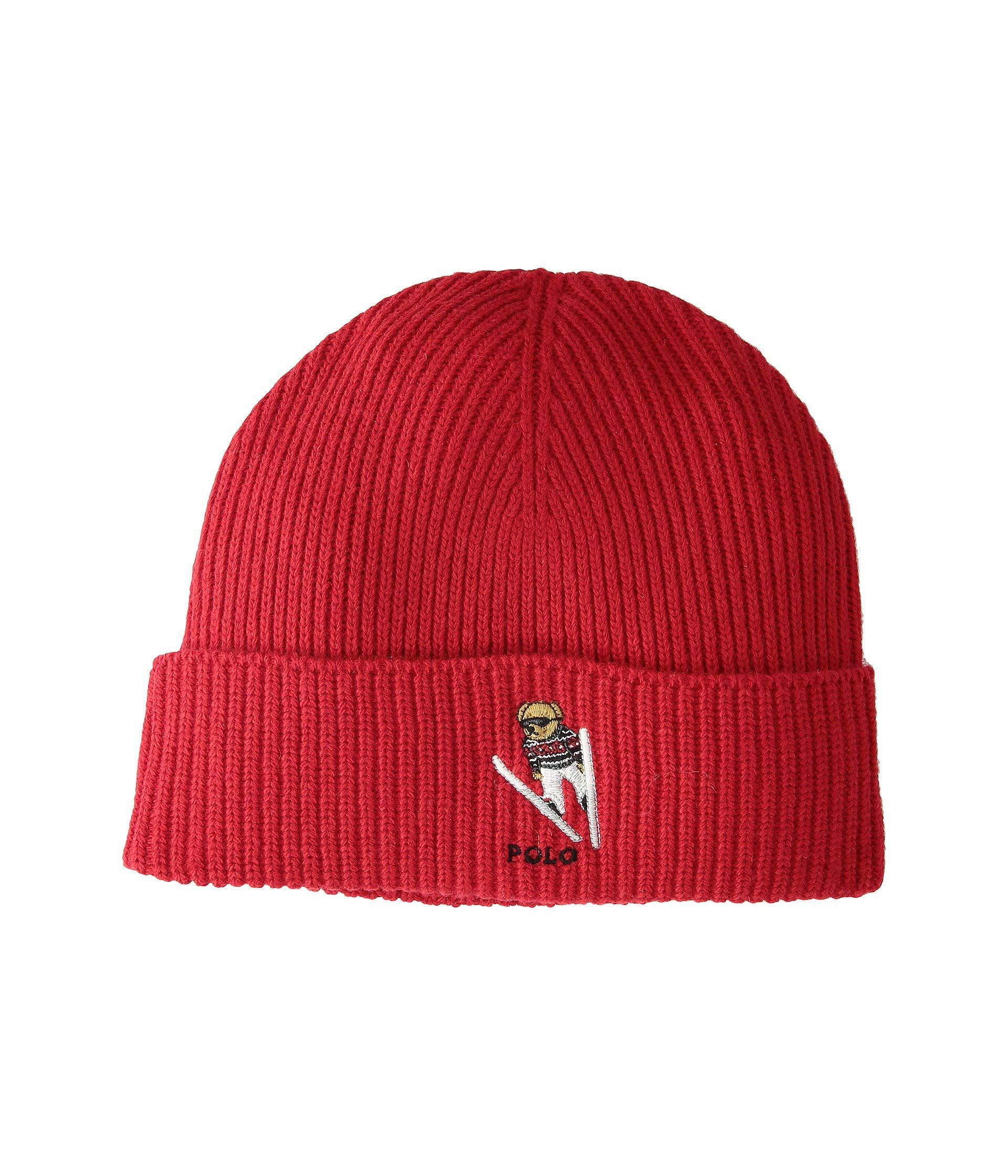 73e3dc50e4d8a Lyst - Polo Ralph Lauren Skier Bear Cuff Hat (black) Beanies in Red ...