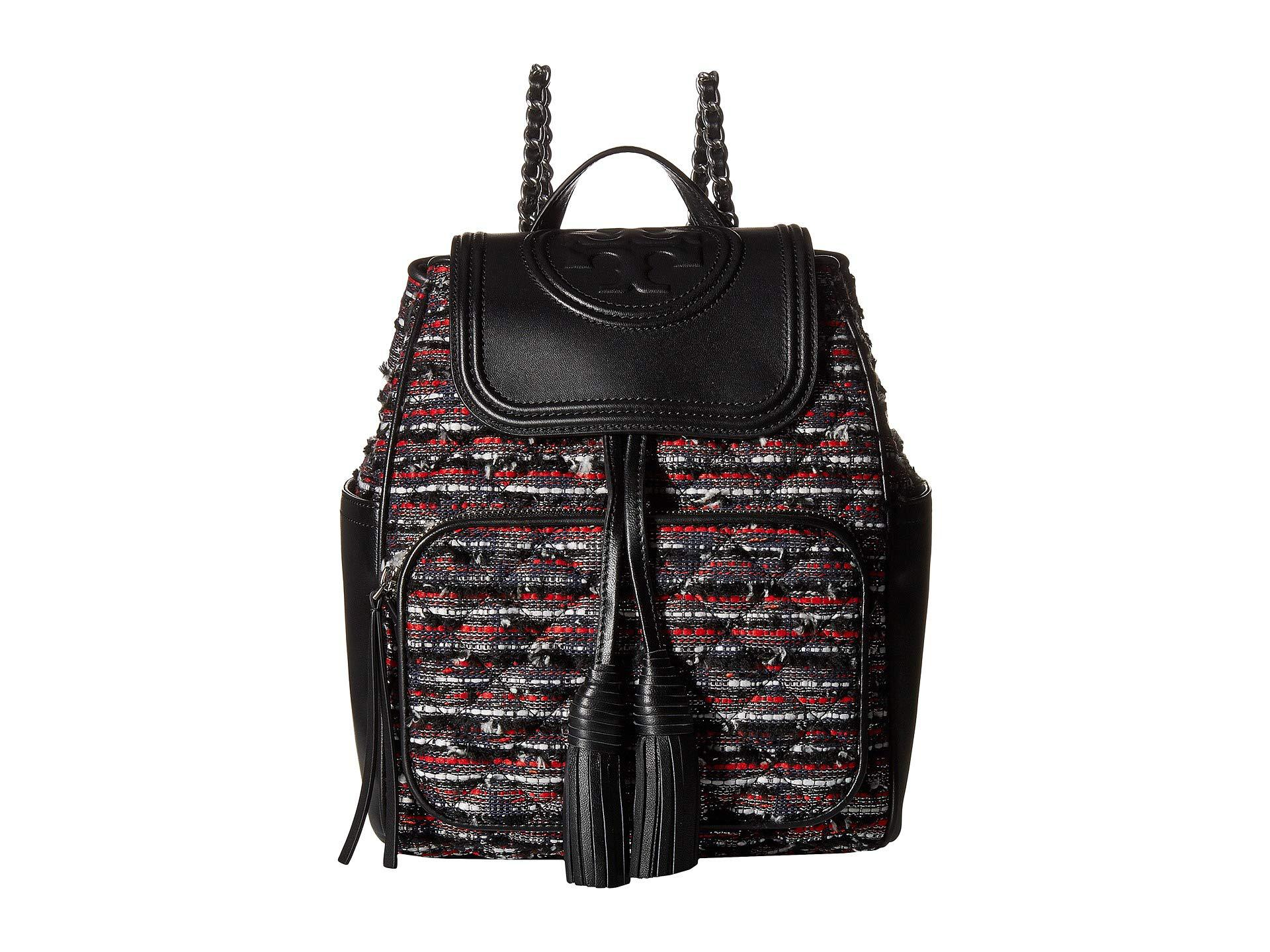 9a35ebd40e3 Lyst - Tory Burch Fleming Tweed Backpack in Black - Save 57%