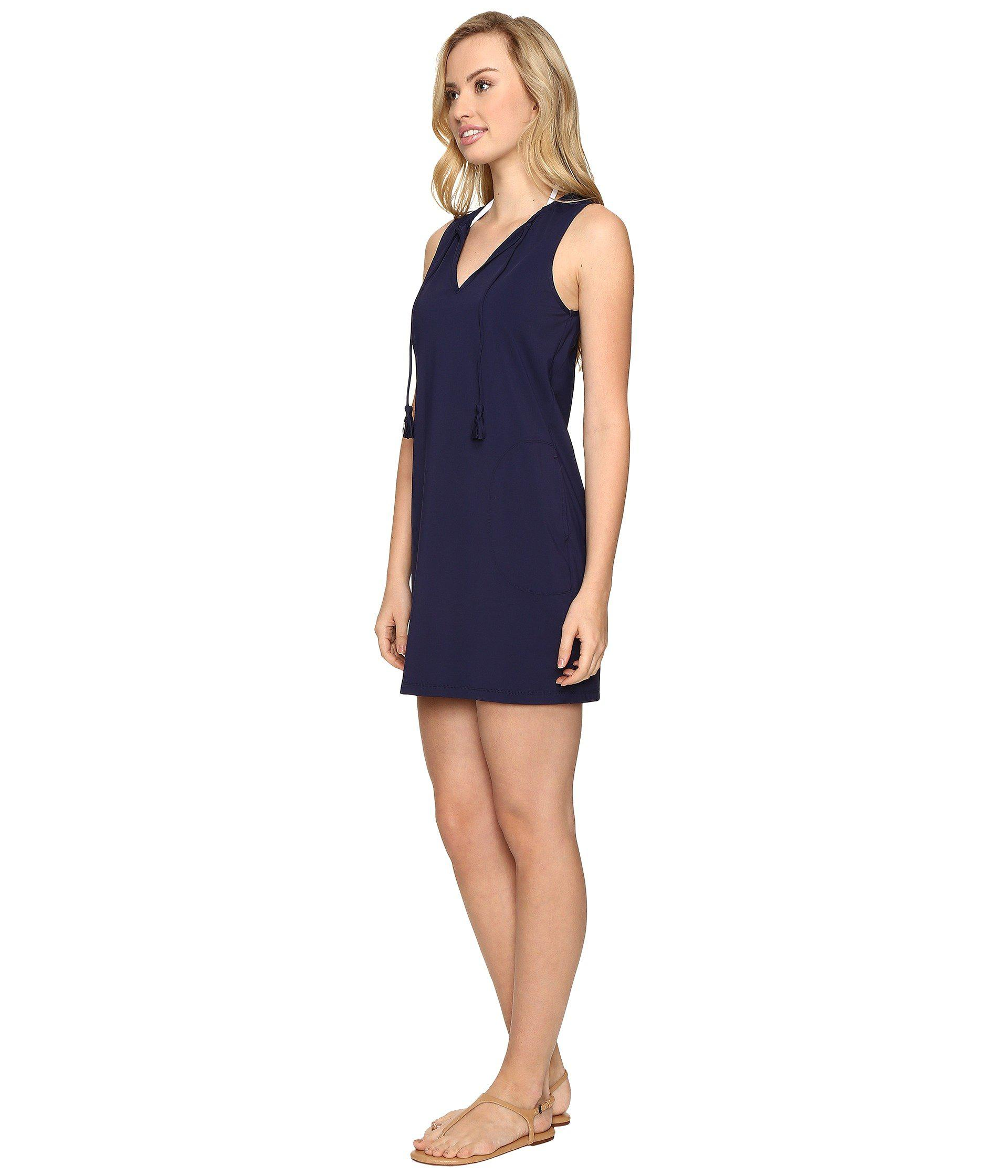 3507e88f9276d Lyst - Tommy Bahama Pearl Split-neck Swim Dress Cover-up (mare Navy) Women s  Swimwear in Blue - Save 30%