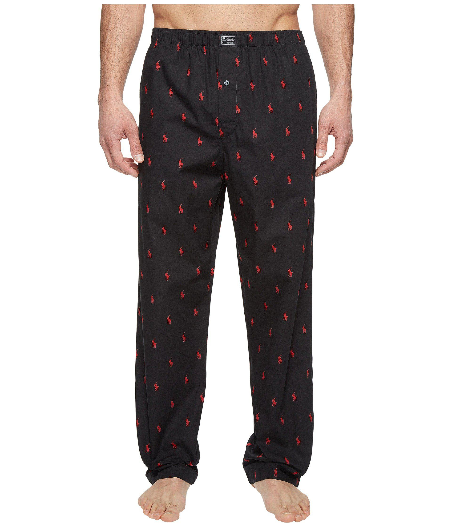 6affedc6d71a Polo Ralph Lauren. All Over Pony Player Woven Pants (polo Black) Men s  Underwear