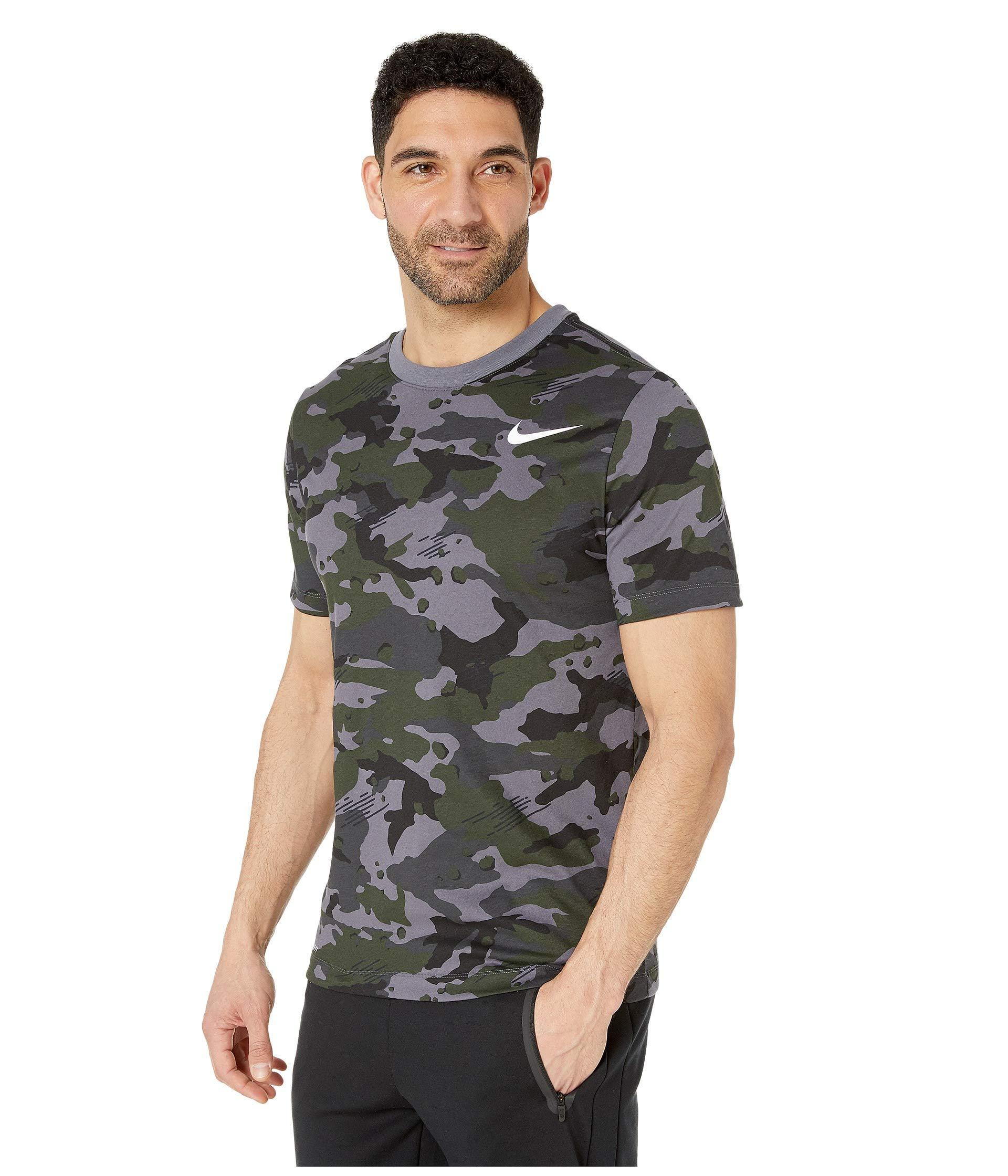 88dbe5602 Lyst - Nike Dry Tee Dri-fittm Cotton Camo All Over Print (white/black) Men's  T Shirt in Gray for Men