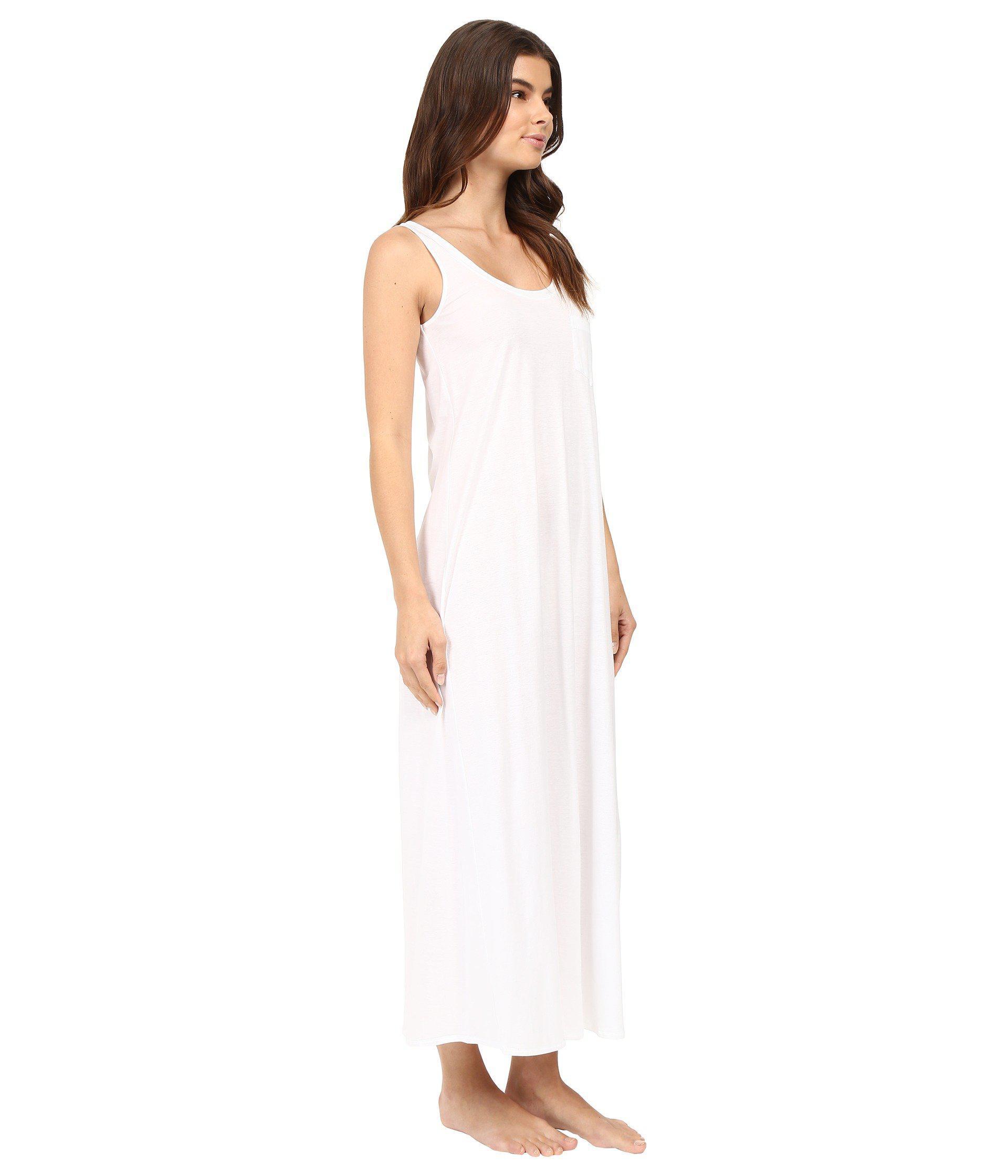 8cb4ff94b3 Hanro - White Cotton Deluxe Long Tank Nightgown (black) Women s Pajama -  Lyst. View fullscreen