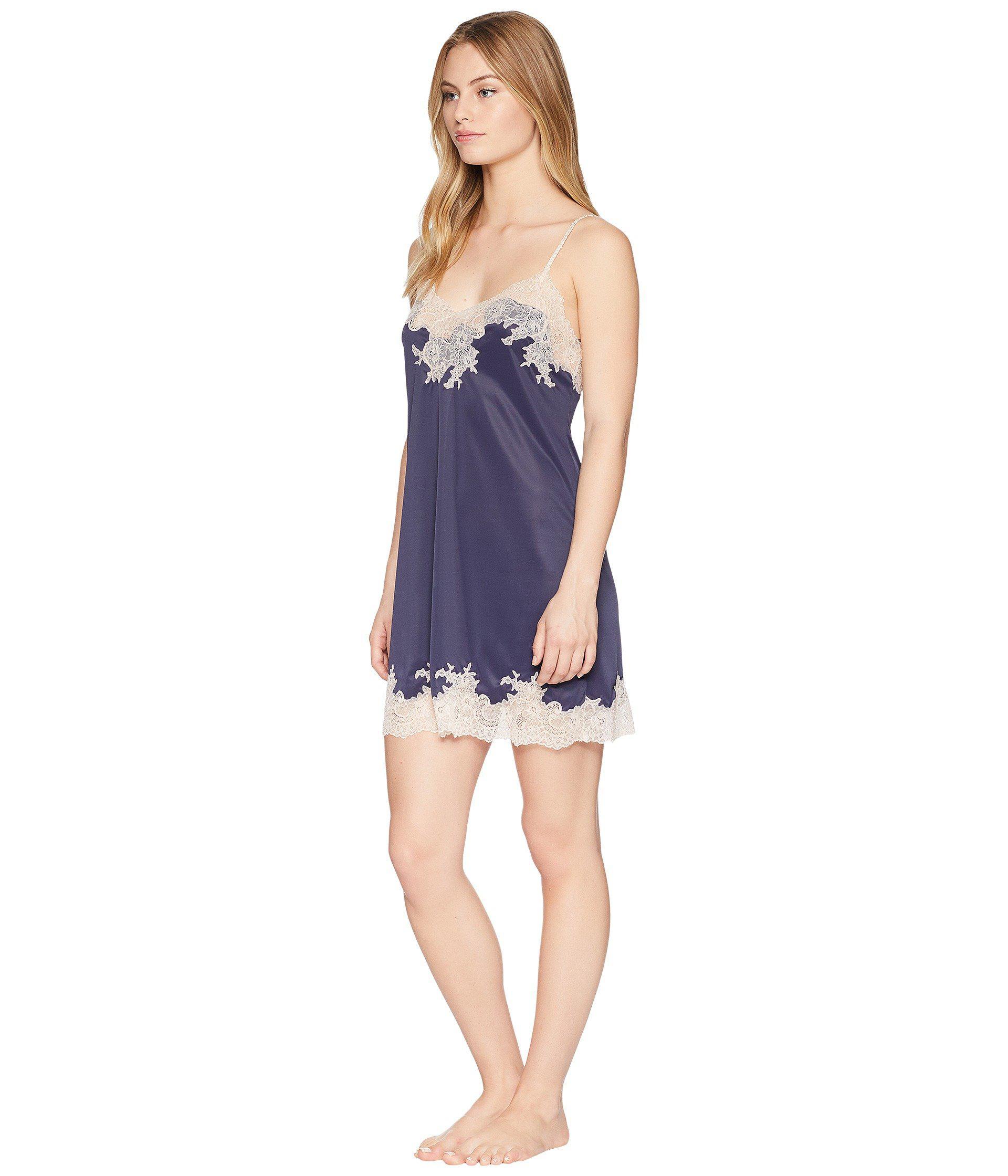 Lyst - Natori Enchant Lace Trim Chemise (night Blue rose) Women s Pajama in  Blue adcaefa9f
