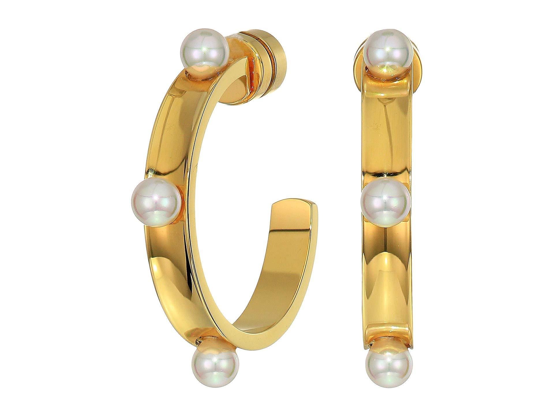 01b167cfc Majorica 4 Mm Circle Round Hoop Earrings In Gold Plated Steel (white ...